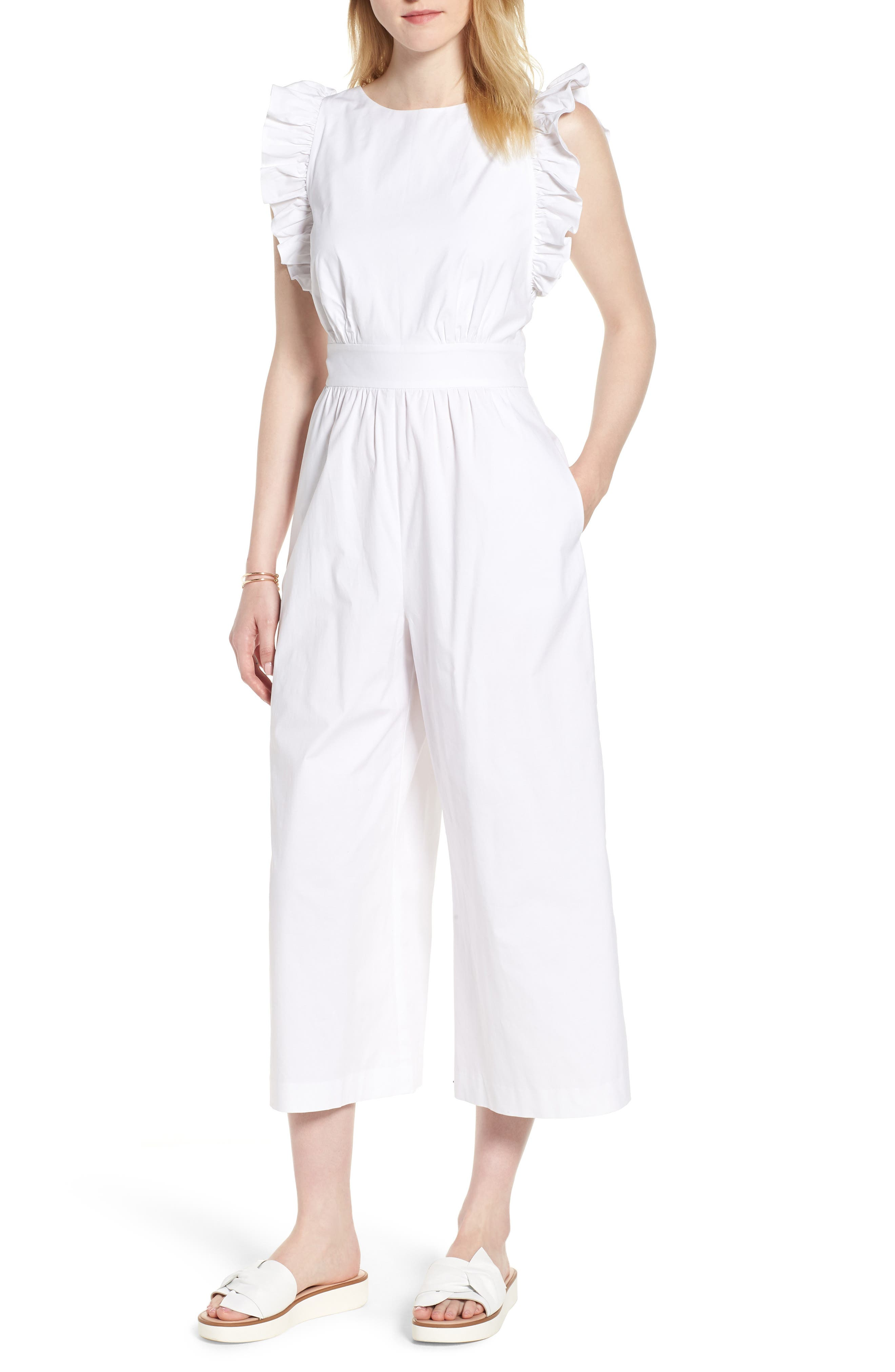 Ruffle Sleeve Crop Jumpsuit,                         Main,                         color, 100