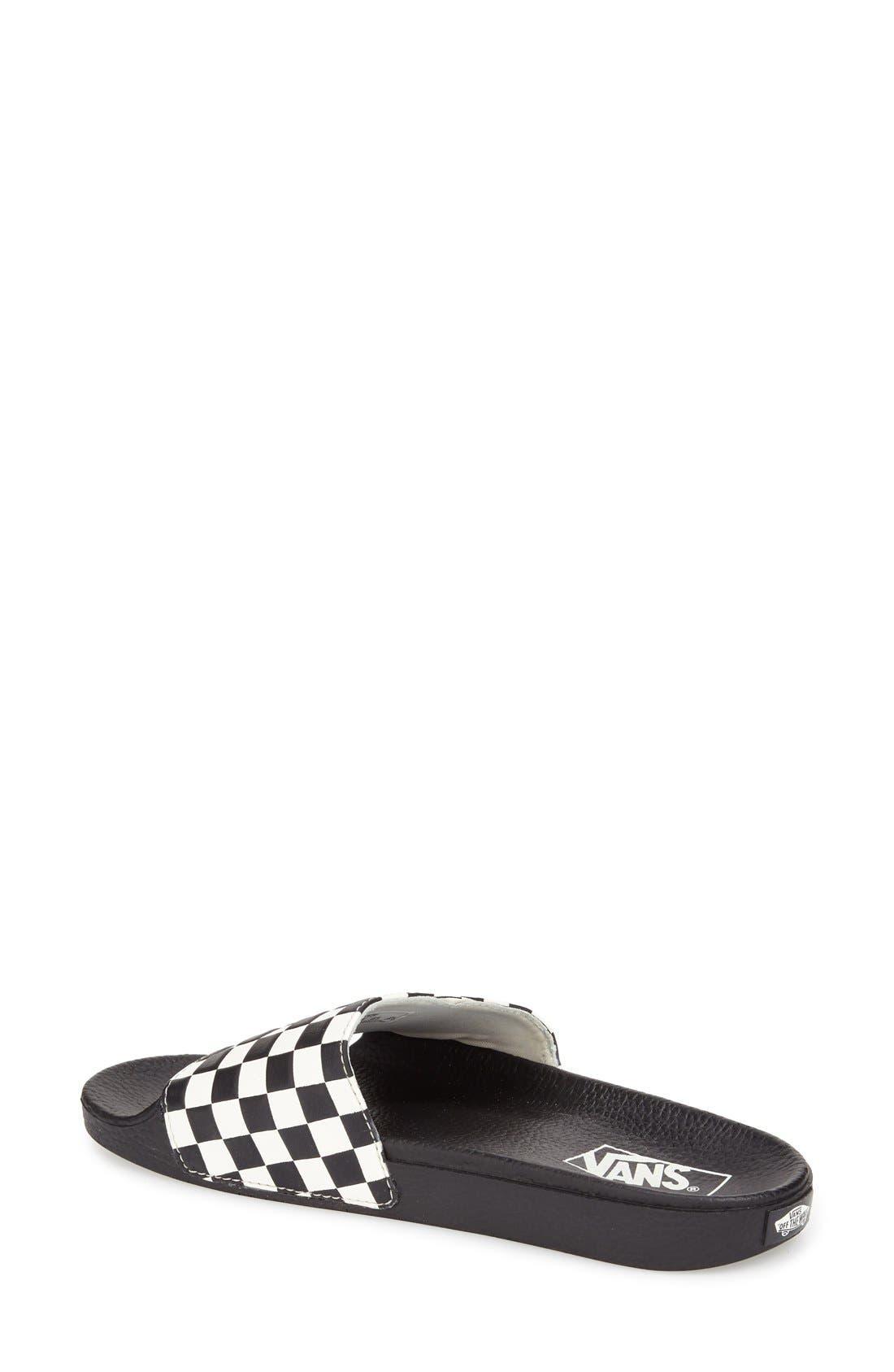 'Slide-On' Slide Sandal,                             Alternate thumbnail 4, color,                             WHITE CHECKERBOARD