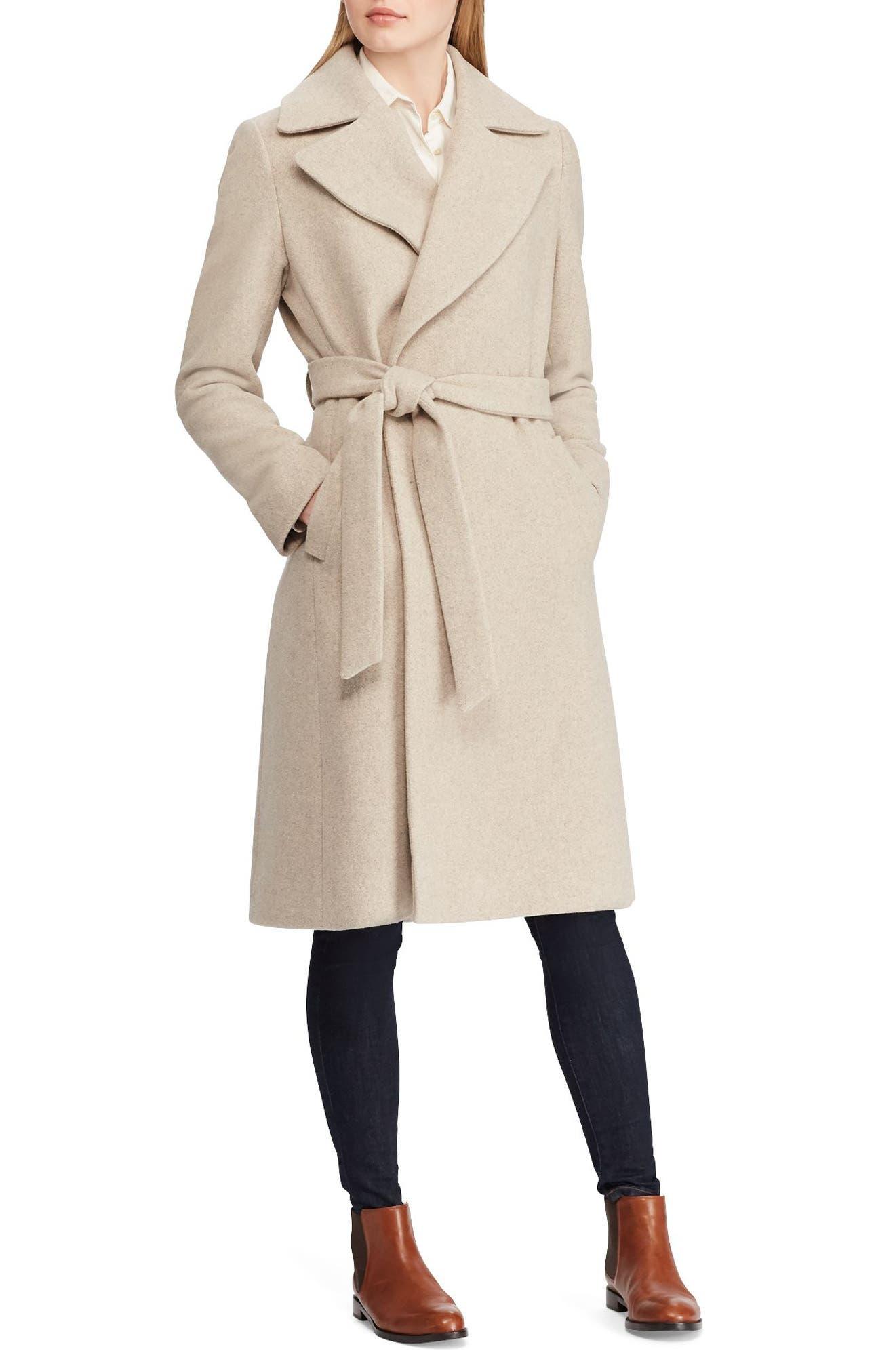 LAUREN RALPH LAUREN Wool Blend Wrap Coat, Main, color, 063