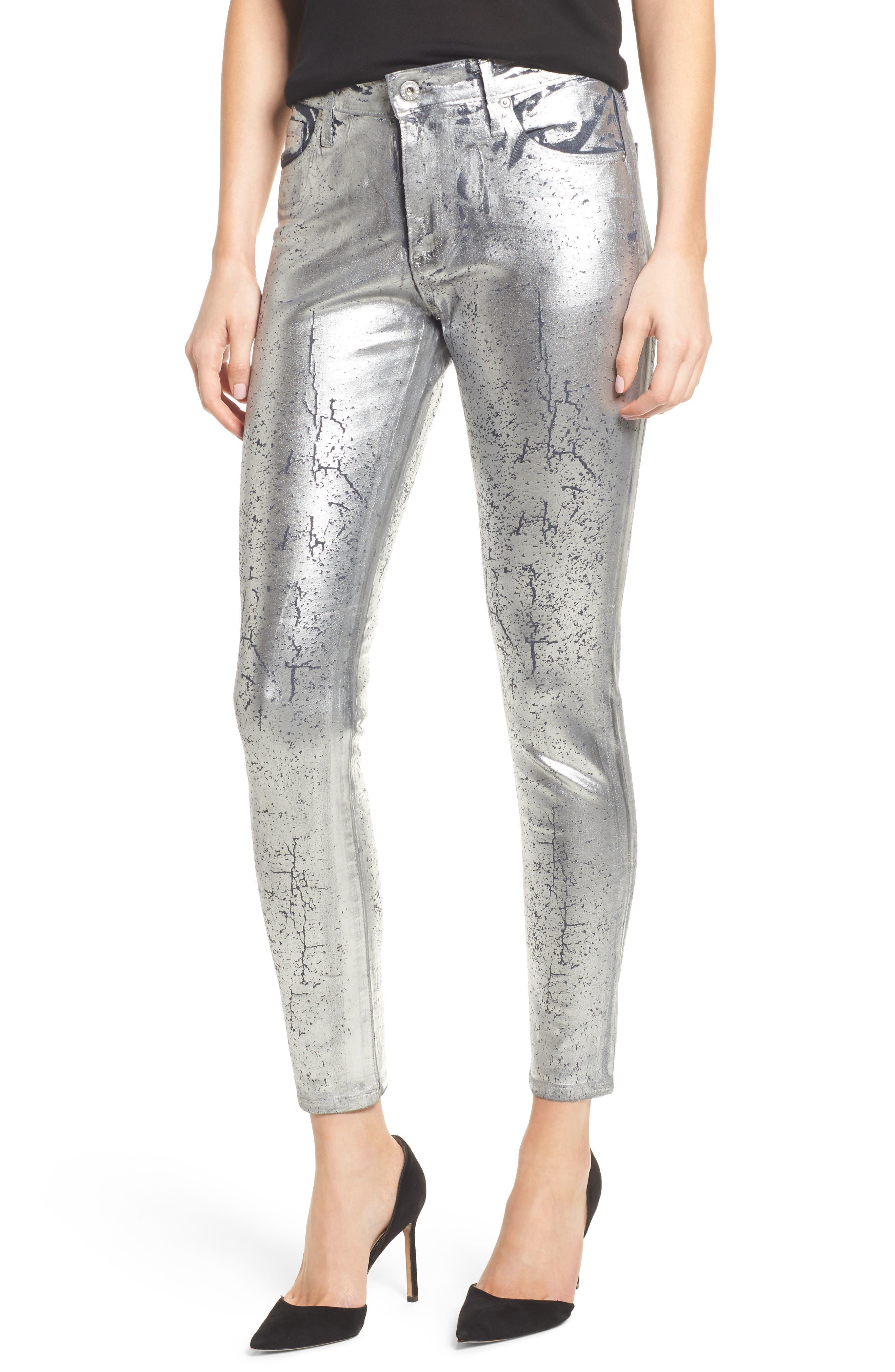 AG Farrah High Waist Ankle Skinny Jeans, Main, color, ICED SILVER