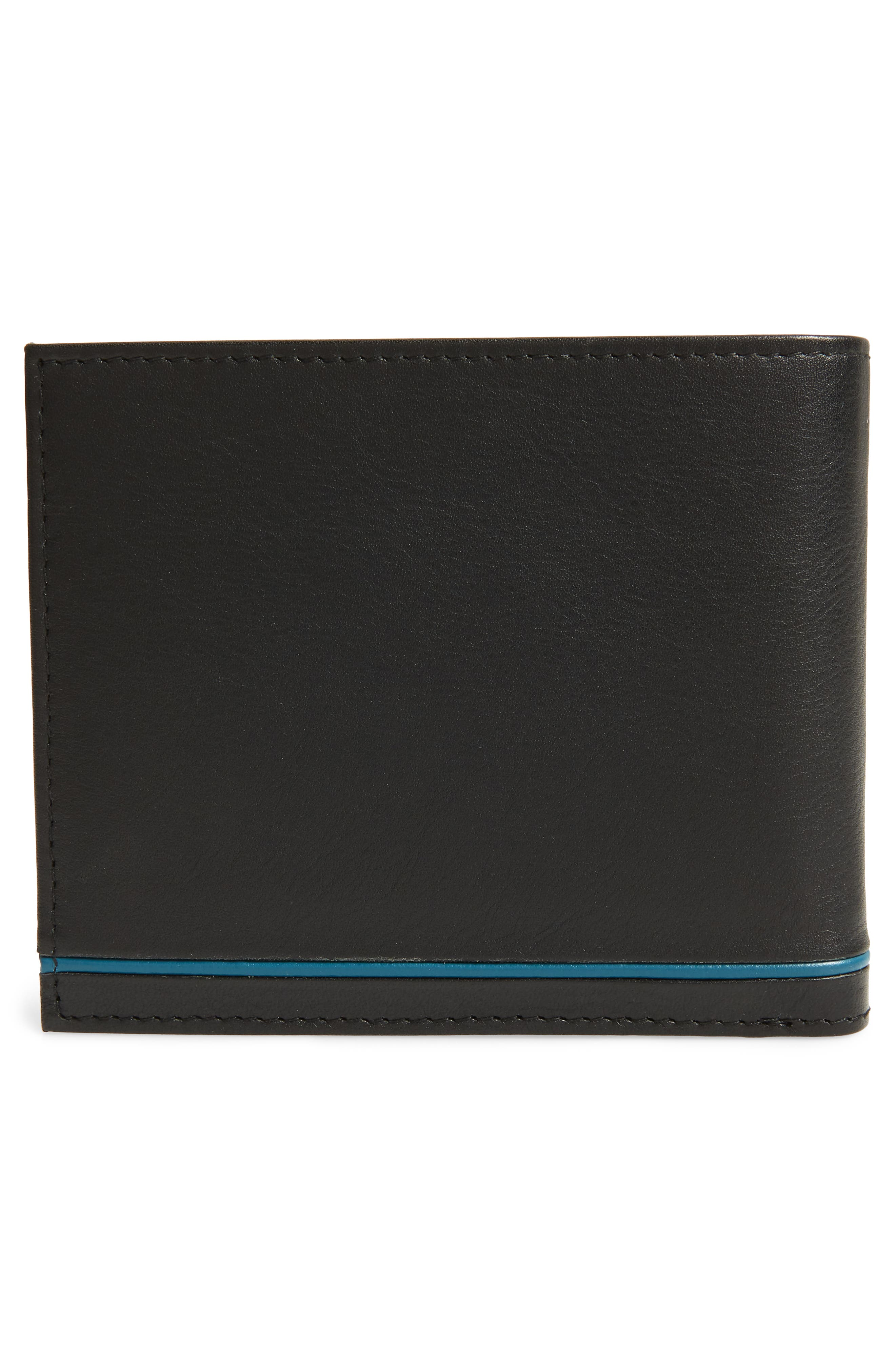 Stripe Detail Leather Bifold Wallet,                             Alternate thumbnail 3, color,                             BLACK
