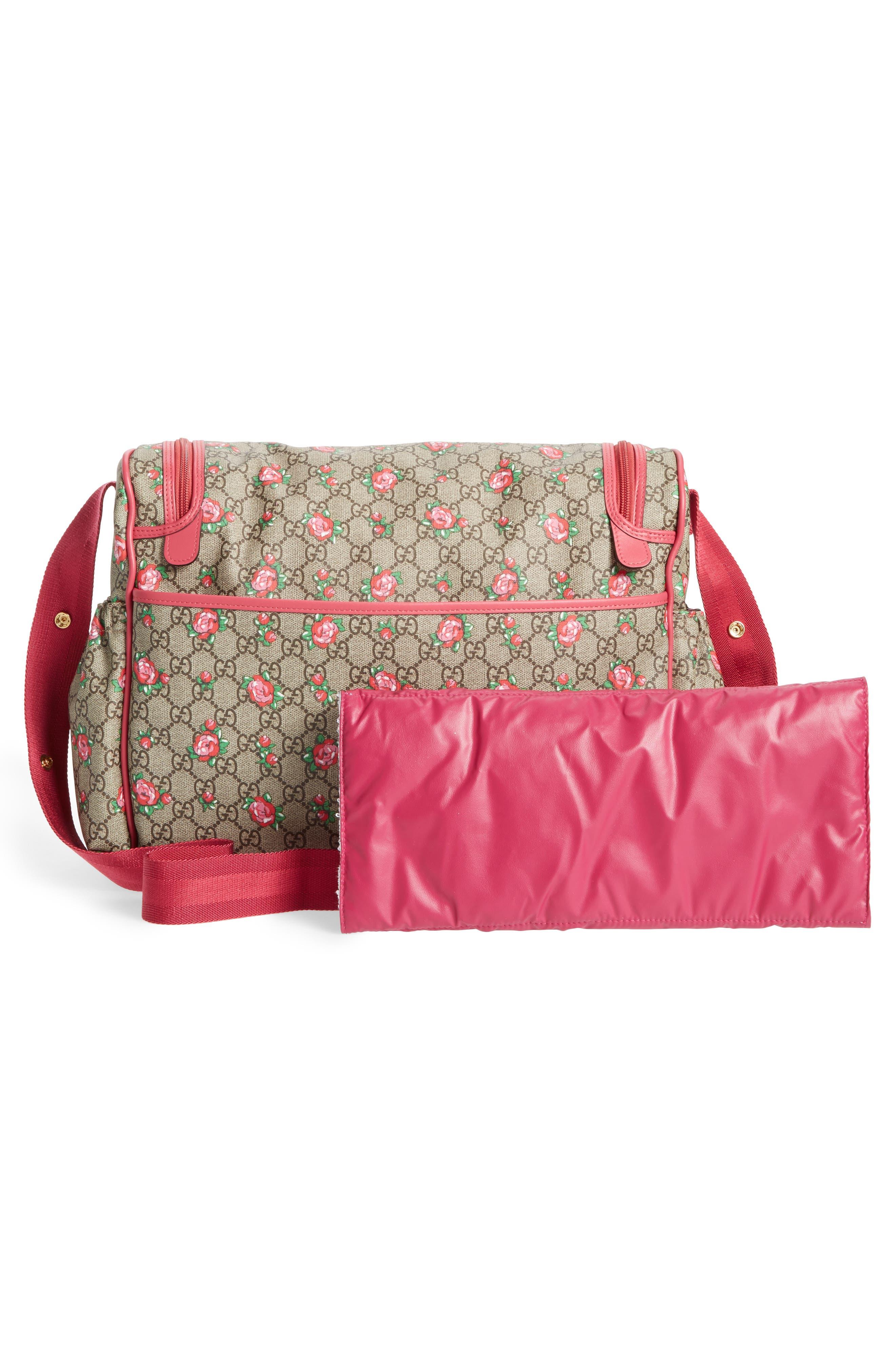 Rose Bud GG Supreme Diaper Bag,                             Alternate thumbnail 3, color,