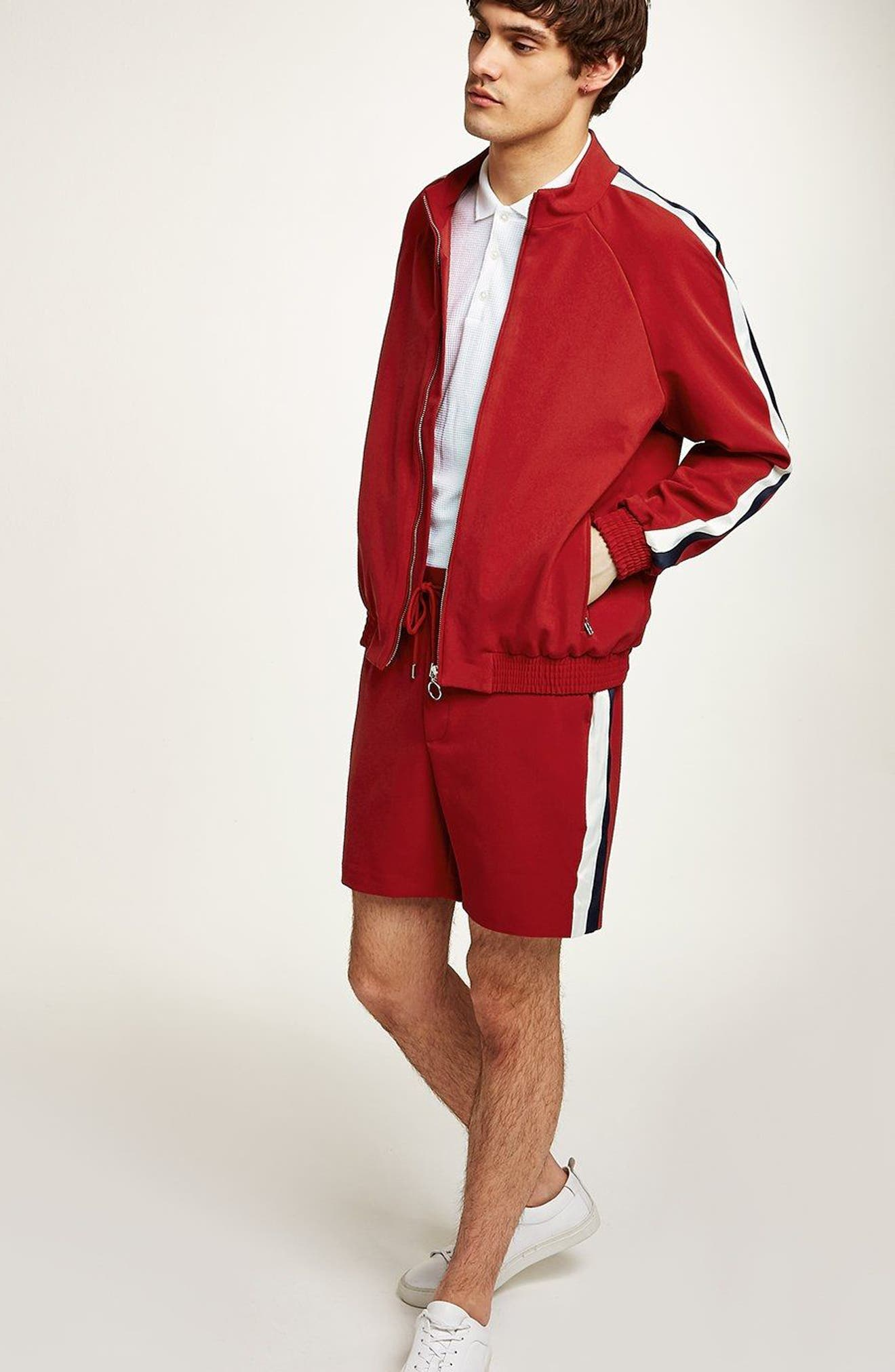 Side Stripe Track Jacket,                             Alternate thumbnail 4, color,                             RED MULTI