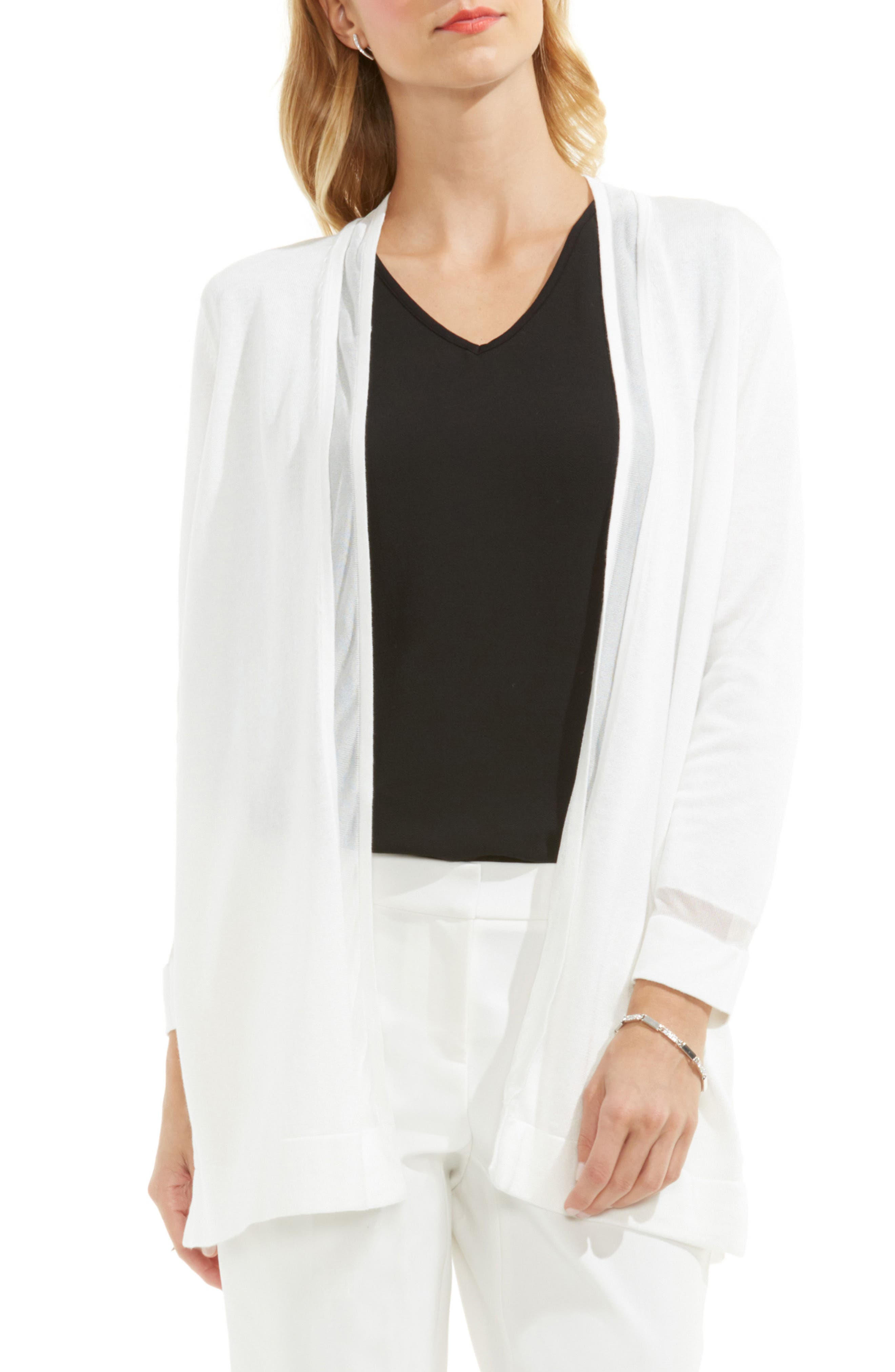 Sheer Stripe Cardigan,                         Main,                         color, NEW IVORY