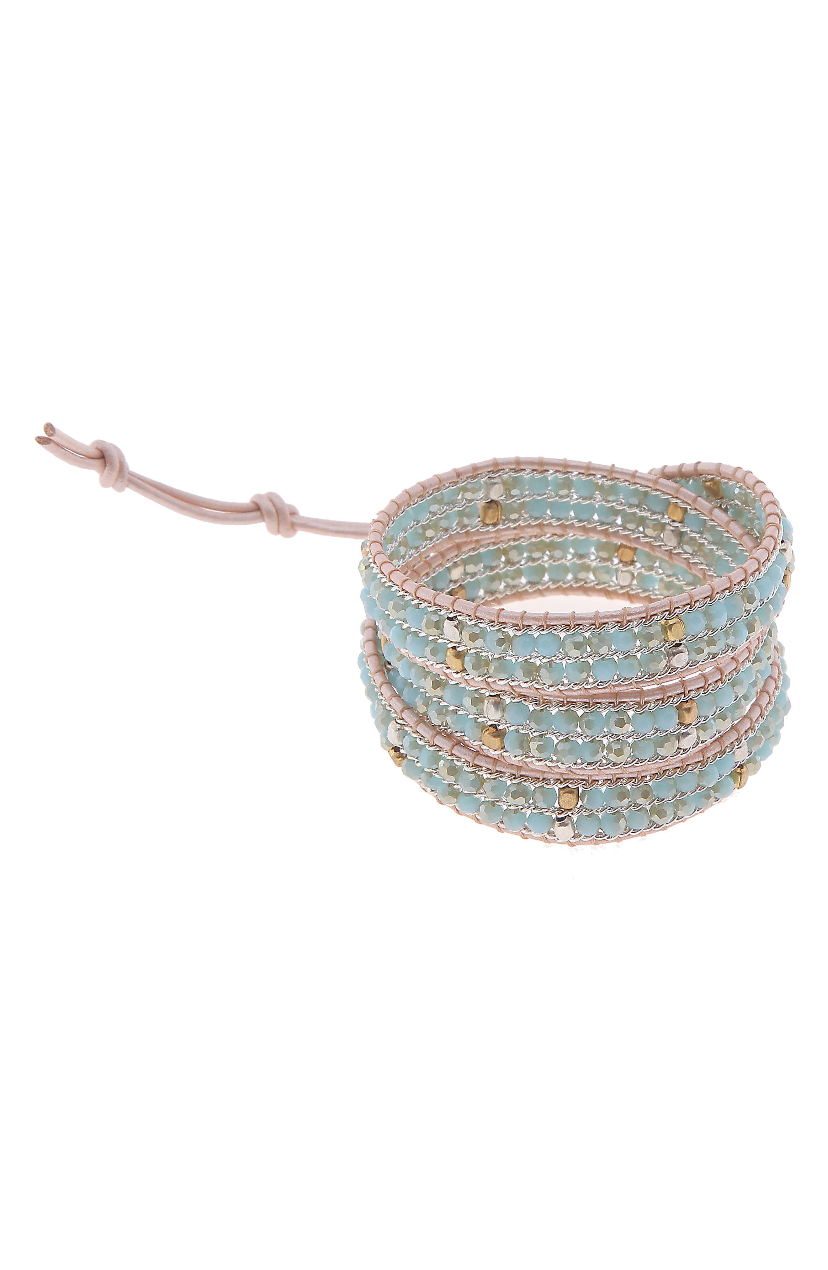NAKAMOL DESIGN,                             Beaded Wrap Bracelet,                             Main thumbnail 1, color,                             AQUA