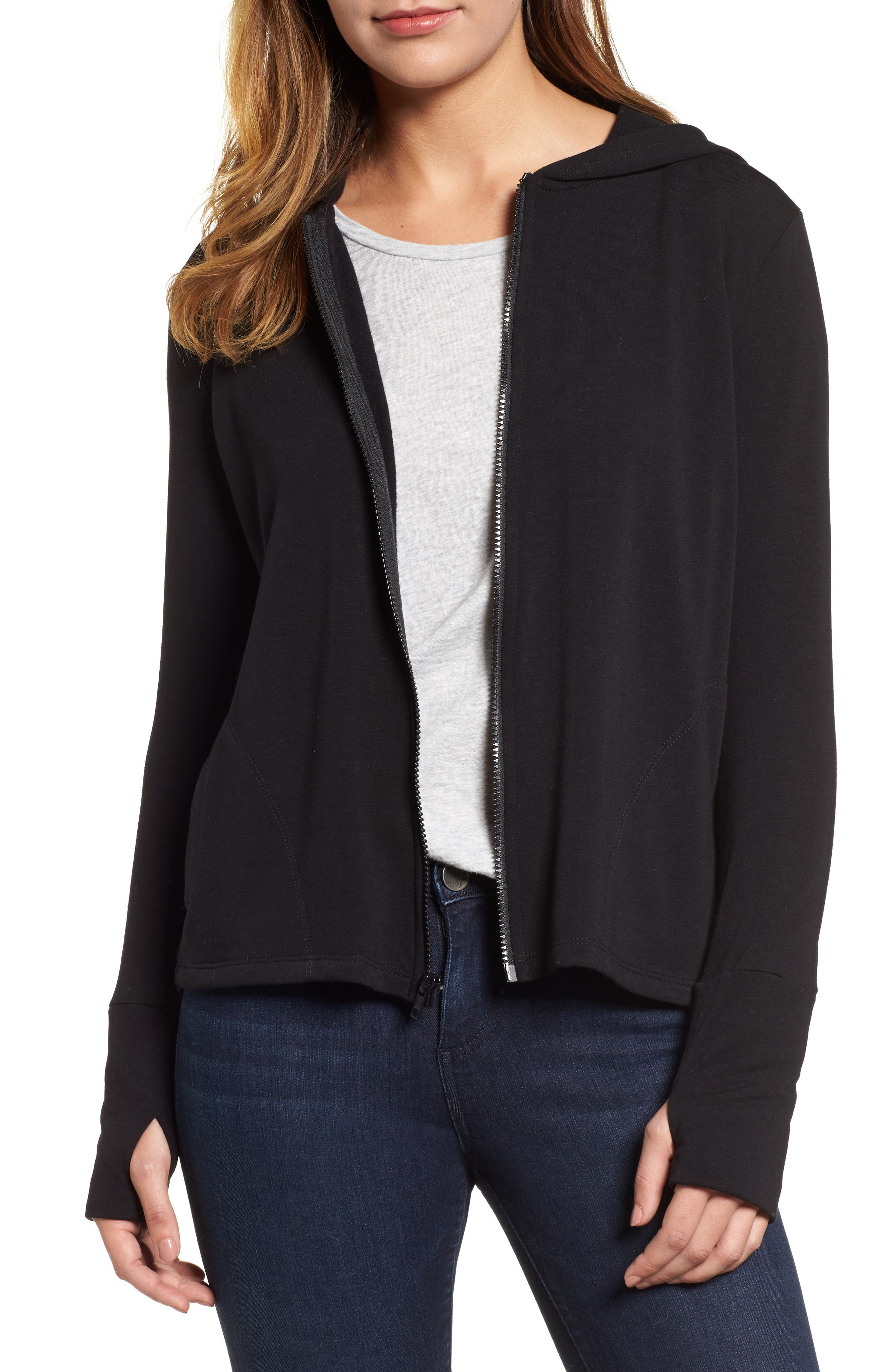Off-Duty Zip Front Hooded Jacket,                             Main thumbnail 1, color,                             001