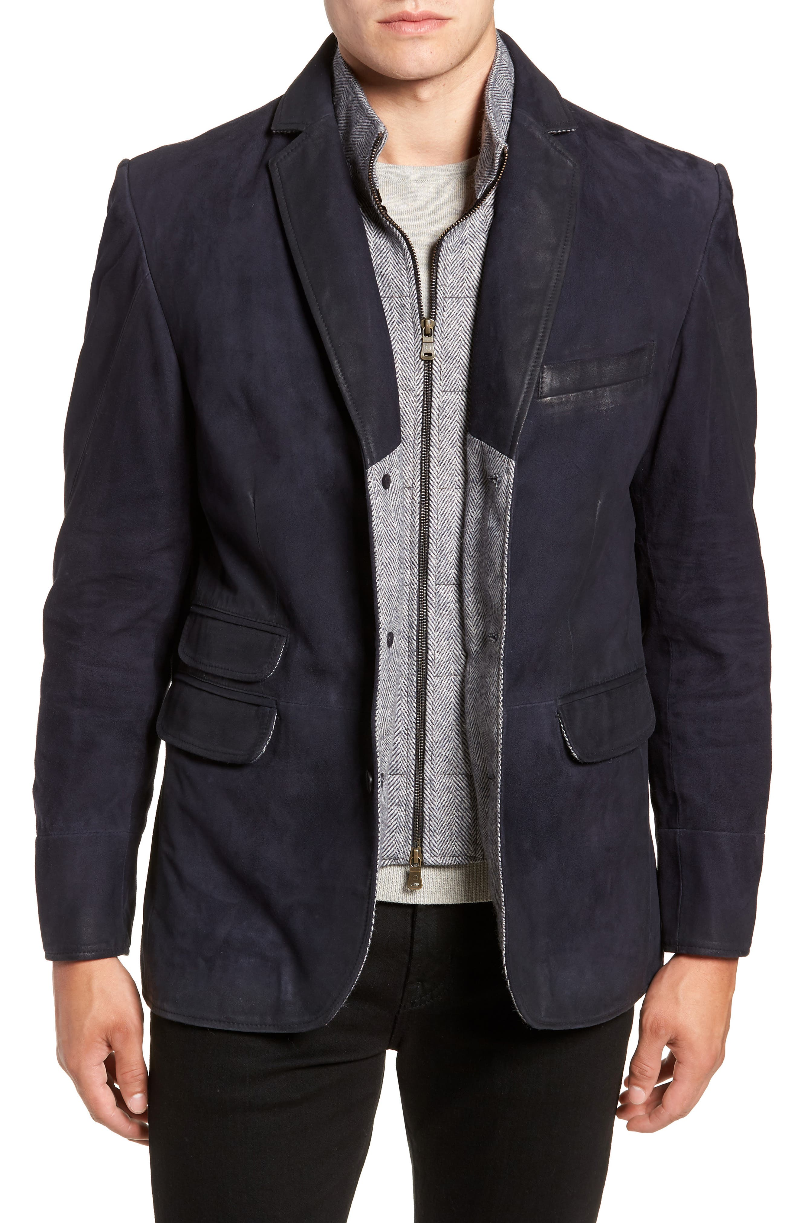 Zip Insert Leather Blazer,                             Main thumbnail 1, color,                             NAVY