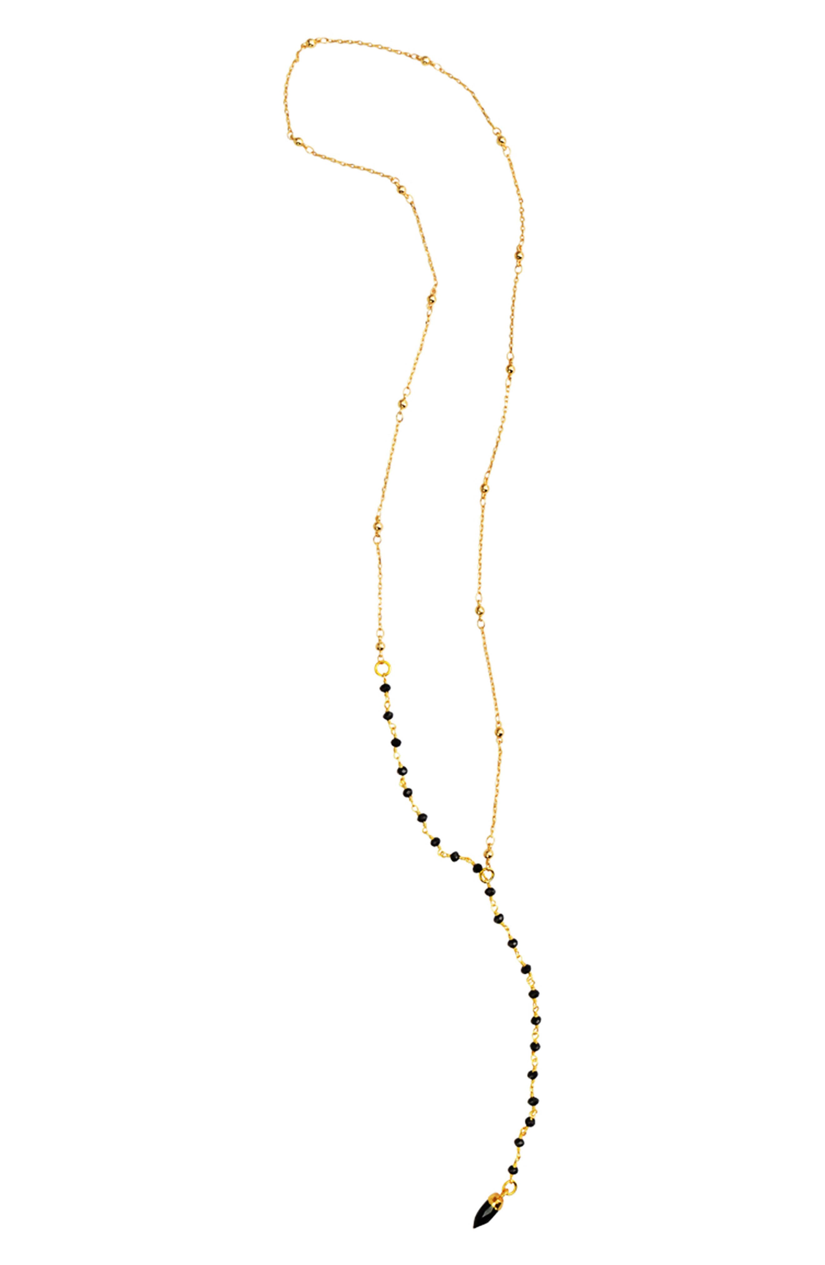 Beaded Y-Necklace,                             Alternate thumbnail 2, color,                             BLACK