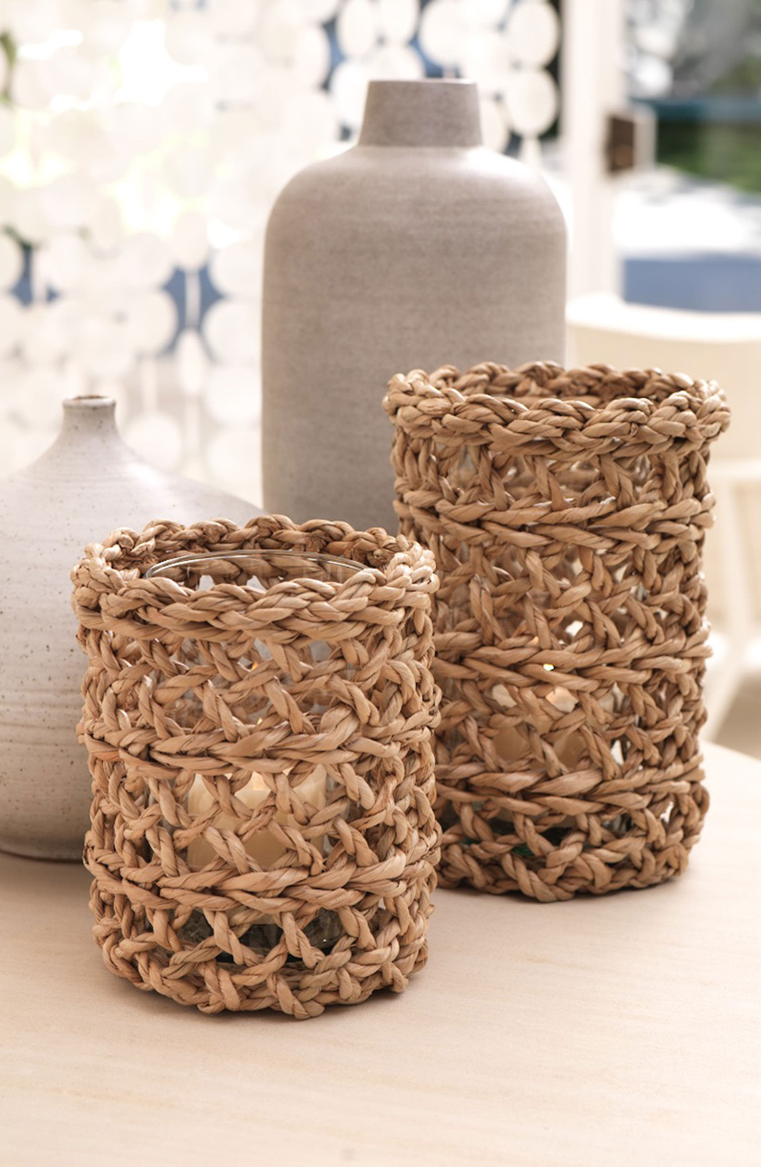 Seagrass Hurricane Candle Holder,                             Alternate thumbnail 2, color,                             LIGHT BROWN