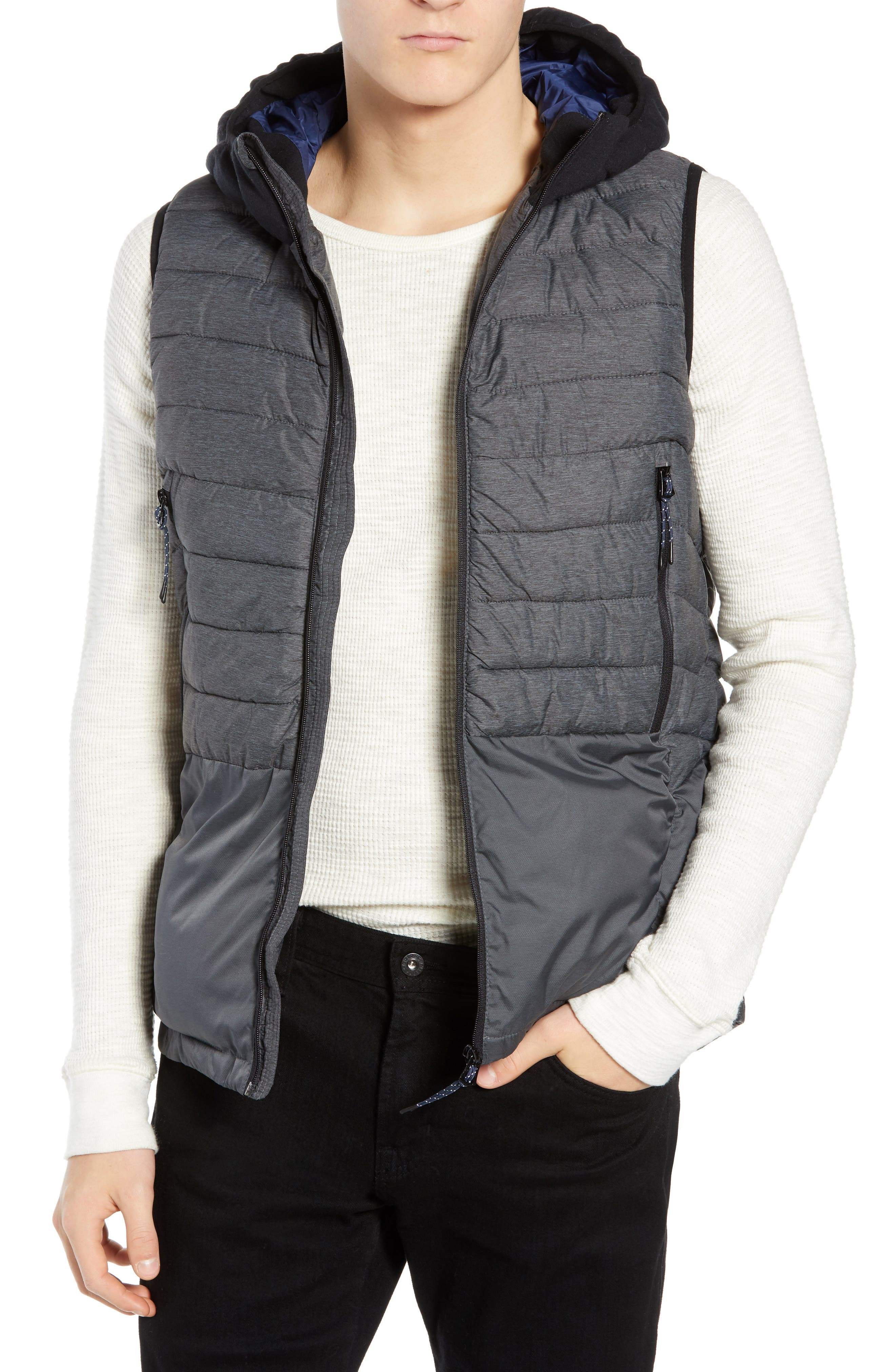 Quilted Hooded Vest, Main, color, 030