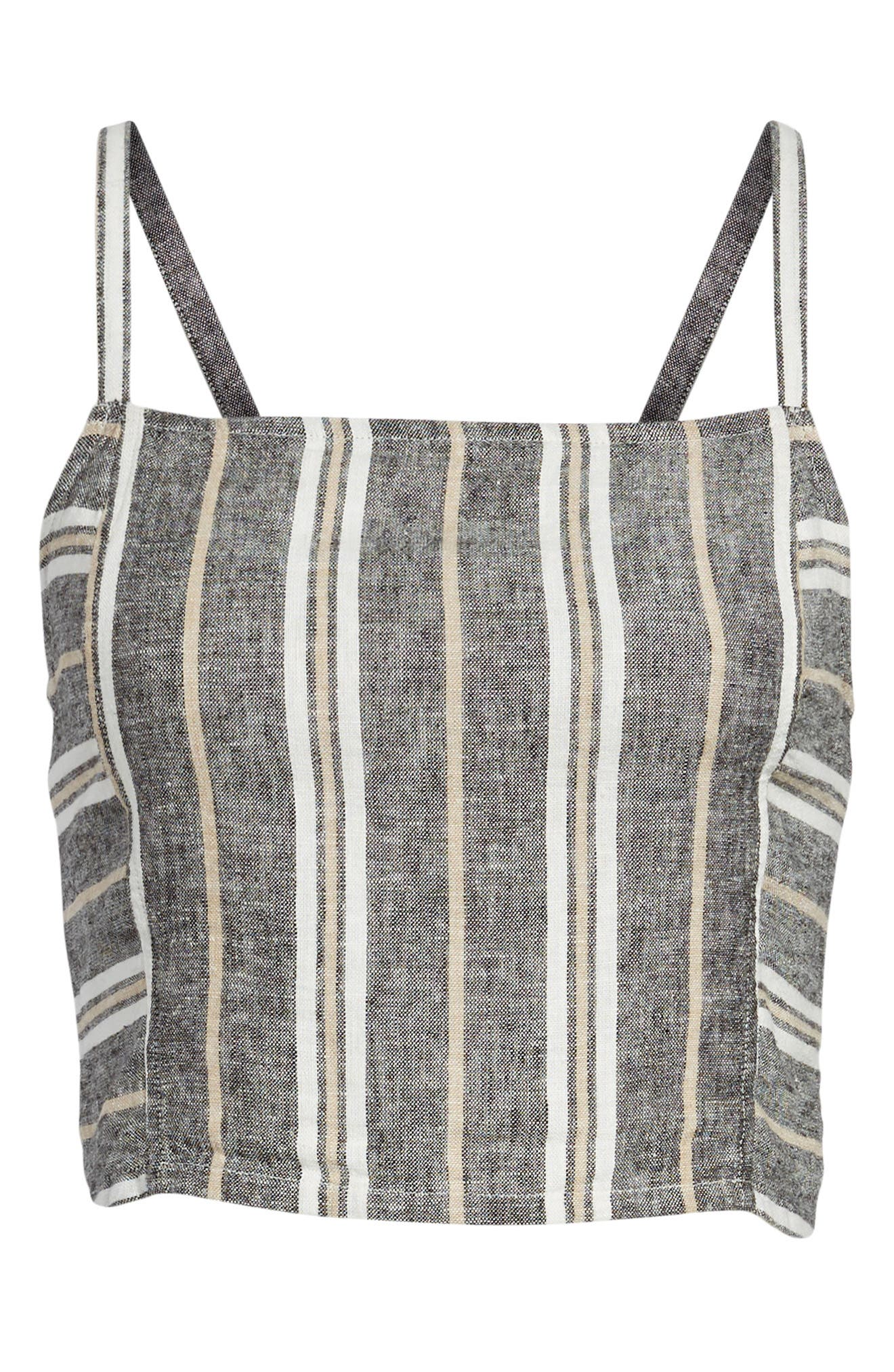 Stripe Linen Blend Tank,                             Alternate thumbnail 7, color,                             001