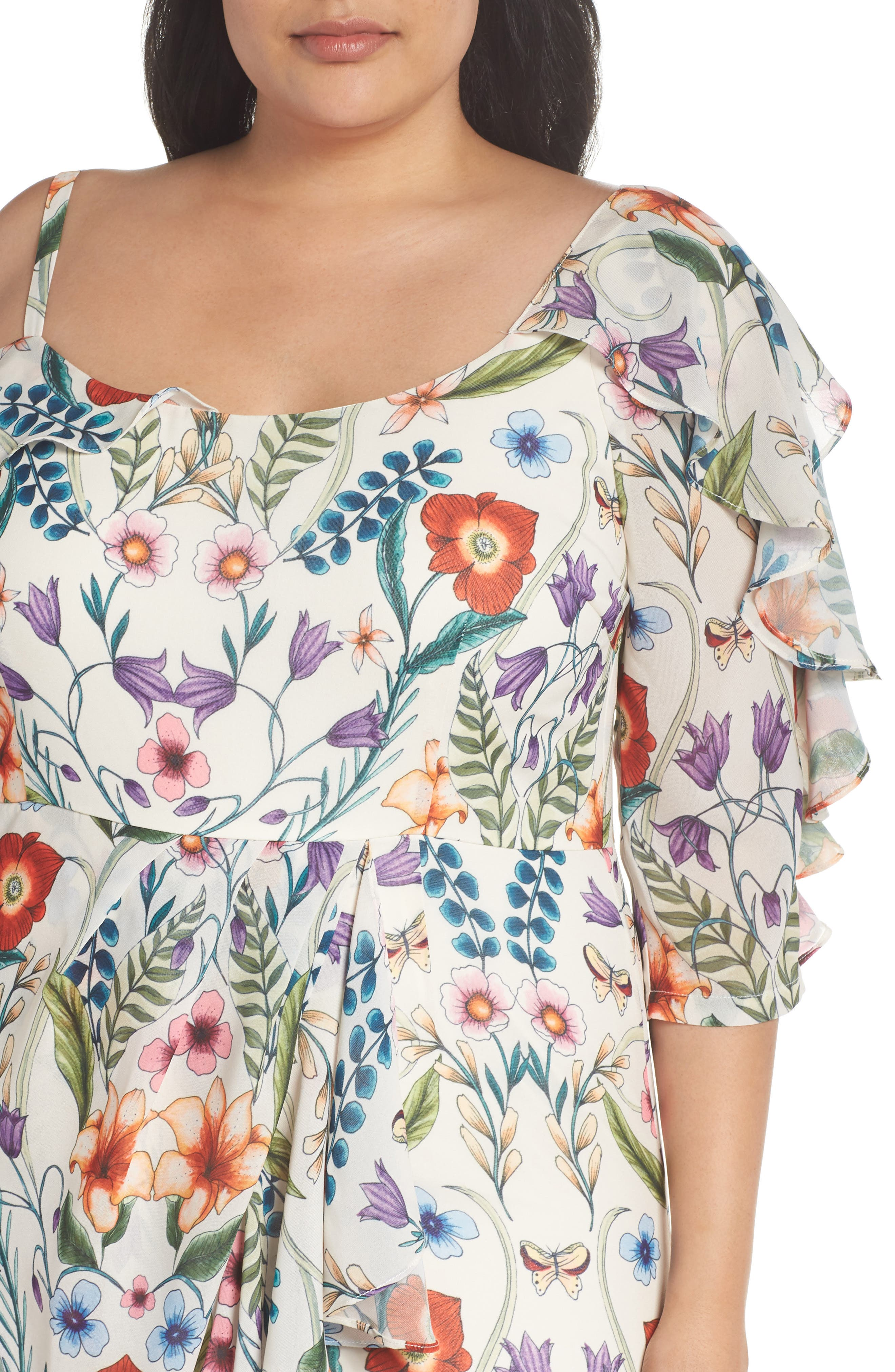 Gardenia Vintage Asymmetrical Dress,                             Alternate thumbnail 4, color,                             100