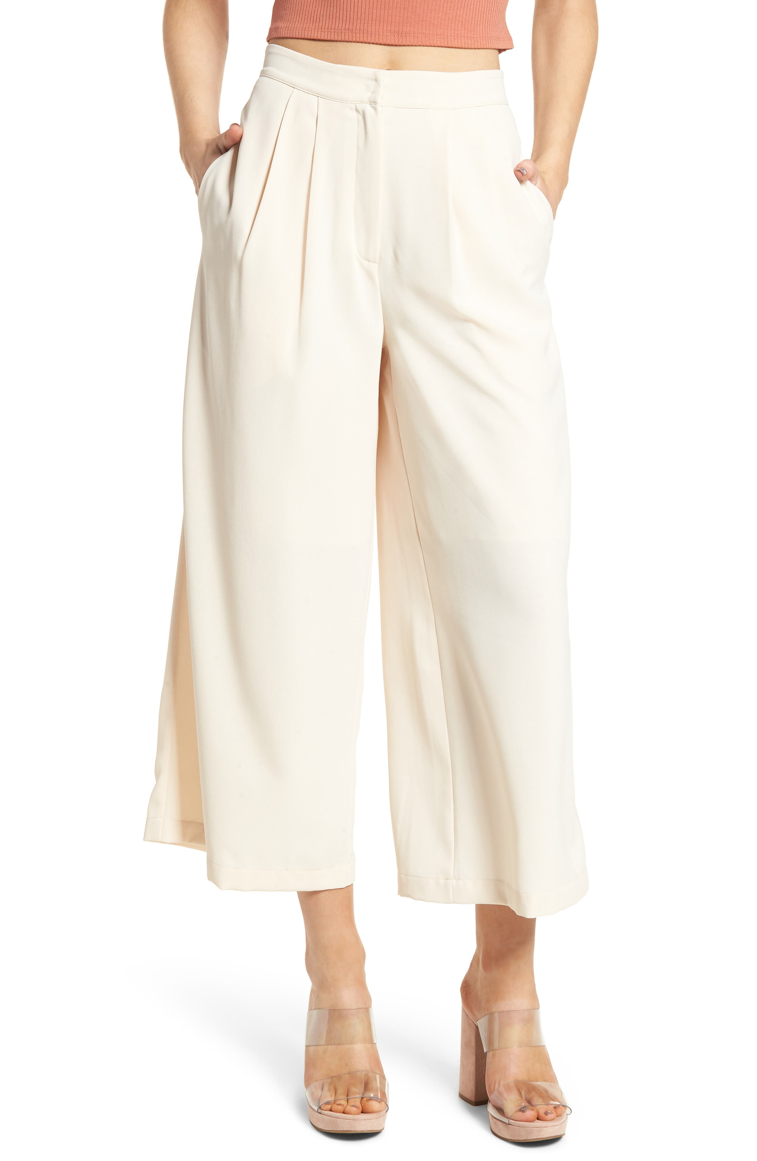 Chriselle x J.O.A. Pleat High Waist Crop Wide Leg Pants,                         Main,                         color, 650