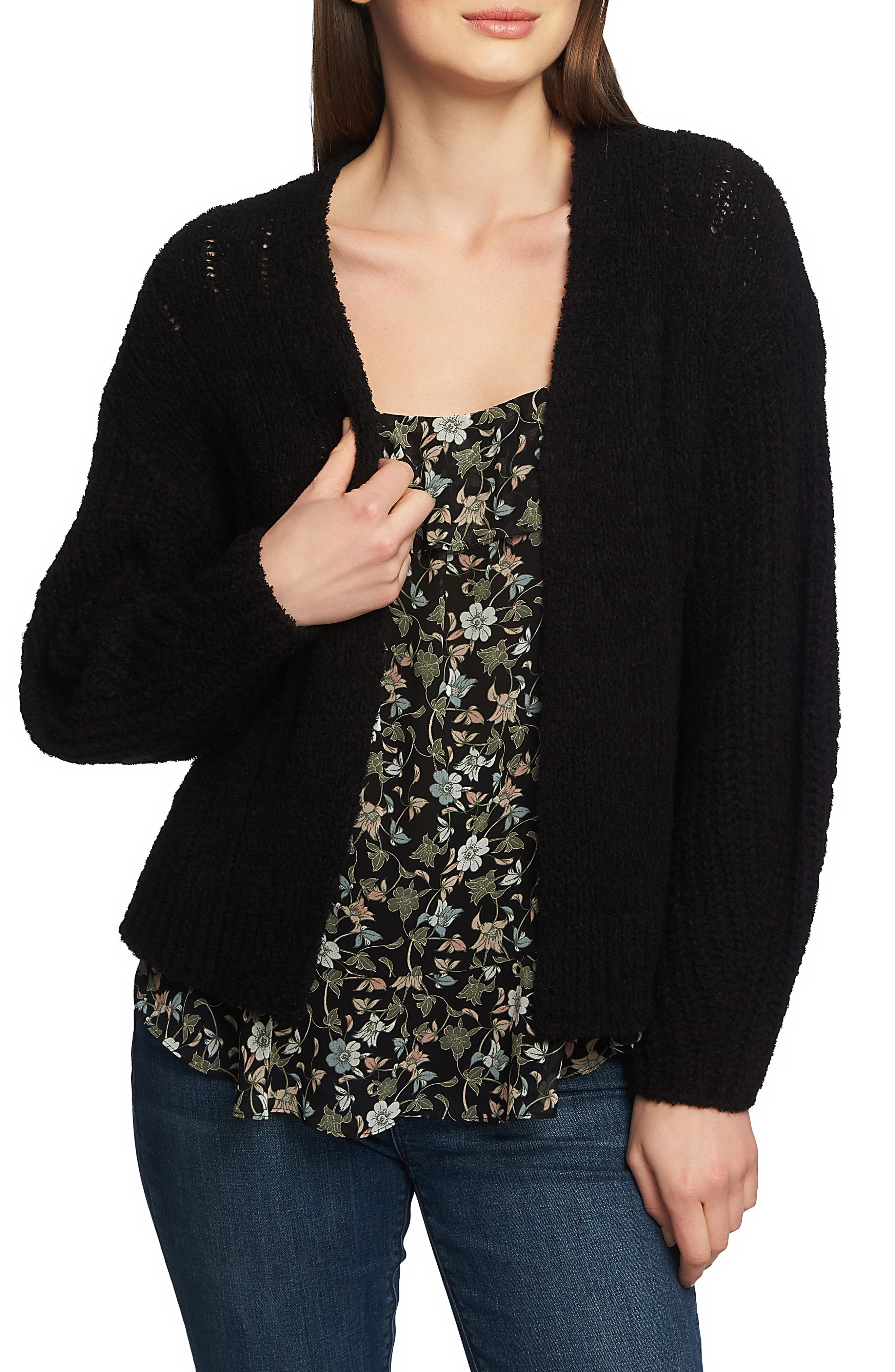 1.STATE,                             Pointelle Stitch Open Cardigan,                             Main thumbnail 1, color,                             RICH BLACK