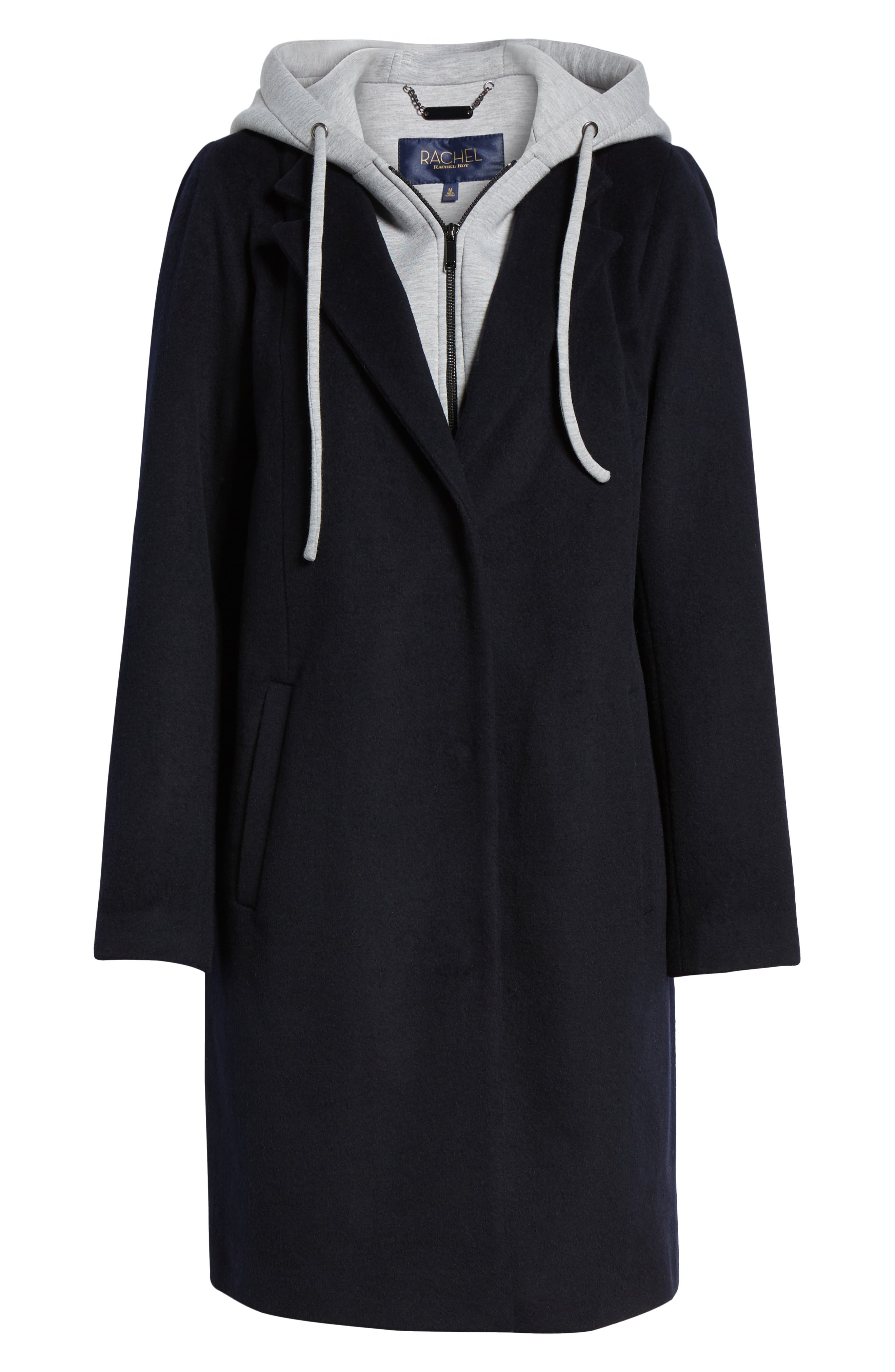 Hoodie Inset Wool Blend Coat,                             Alternate thumbnail 5, color,                             NAVY