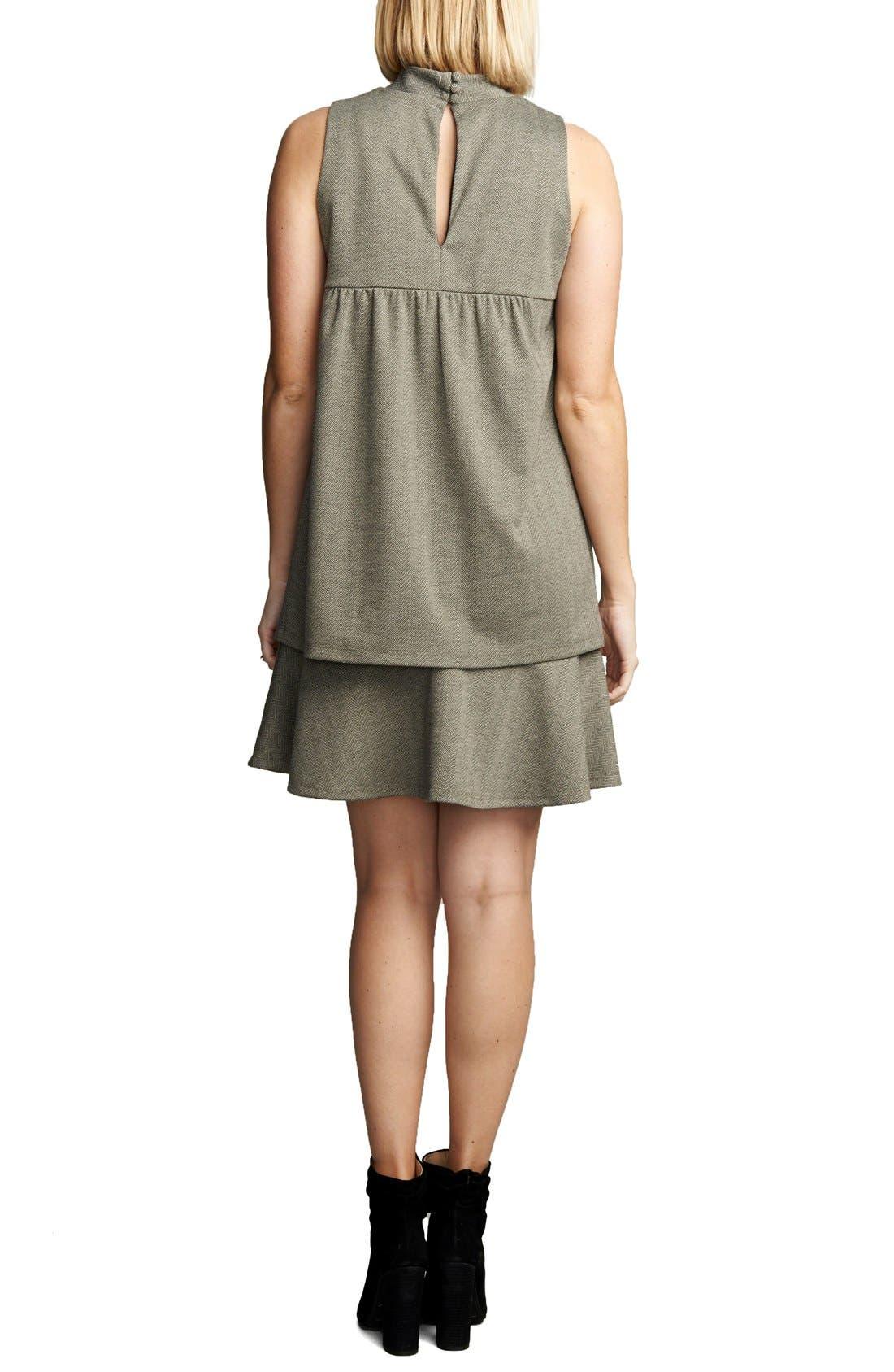 'Lucy' Maternity Dress,                             Alternate thumbnail 3, color,                             HERRINGBONE