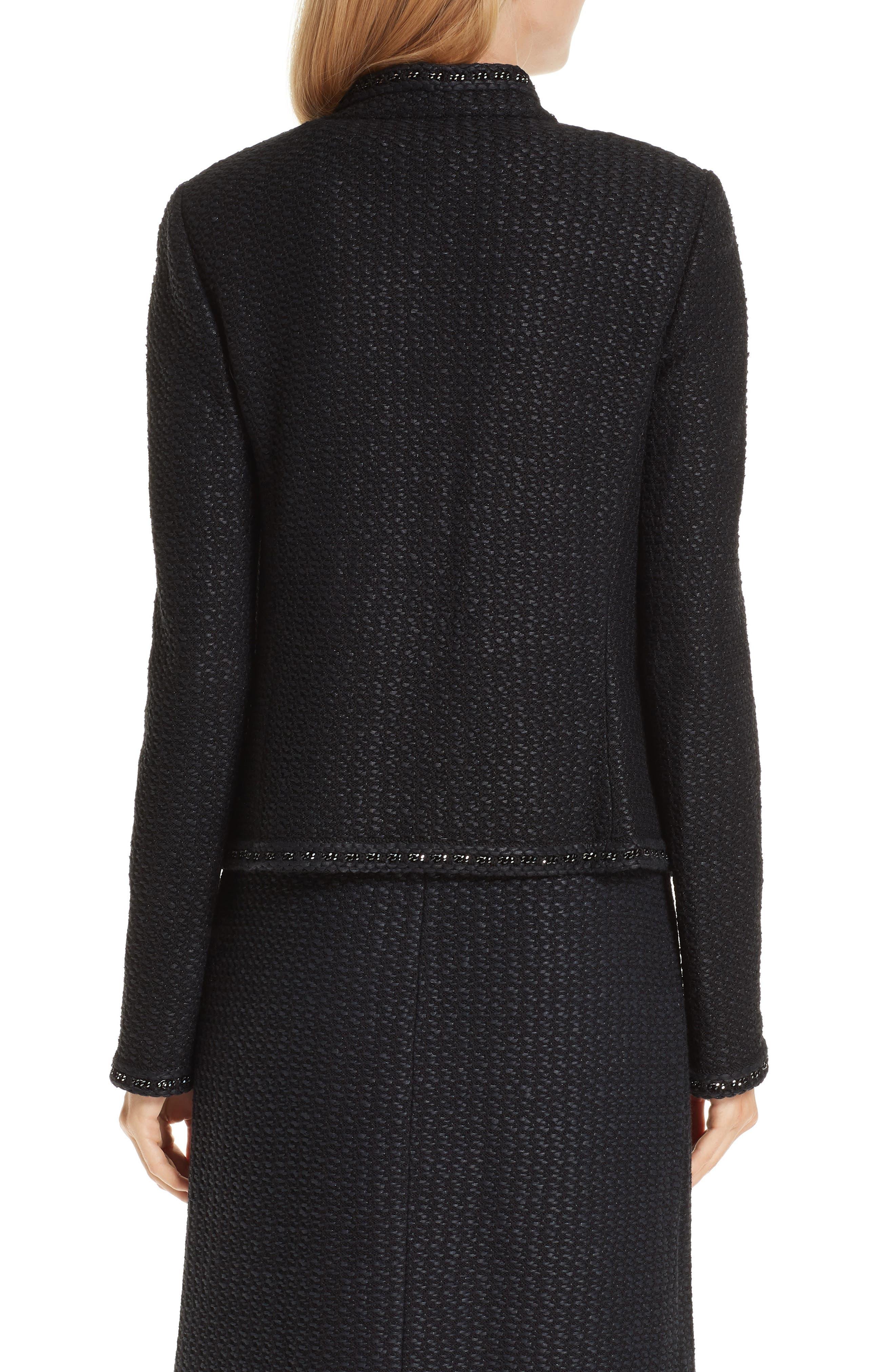 Adina Knit Short Jacket,                             Alternate thumbnail 2, color,                             CAVIAR