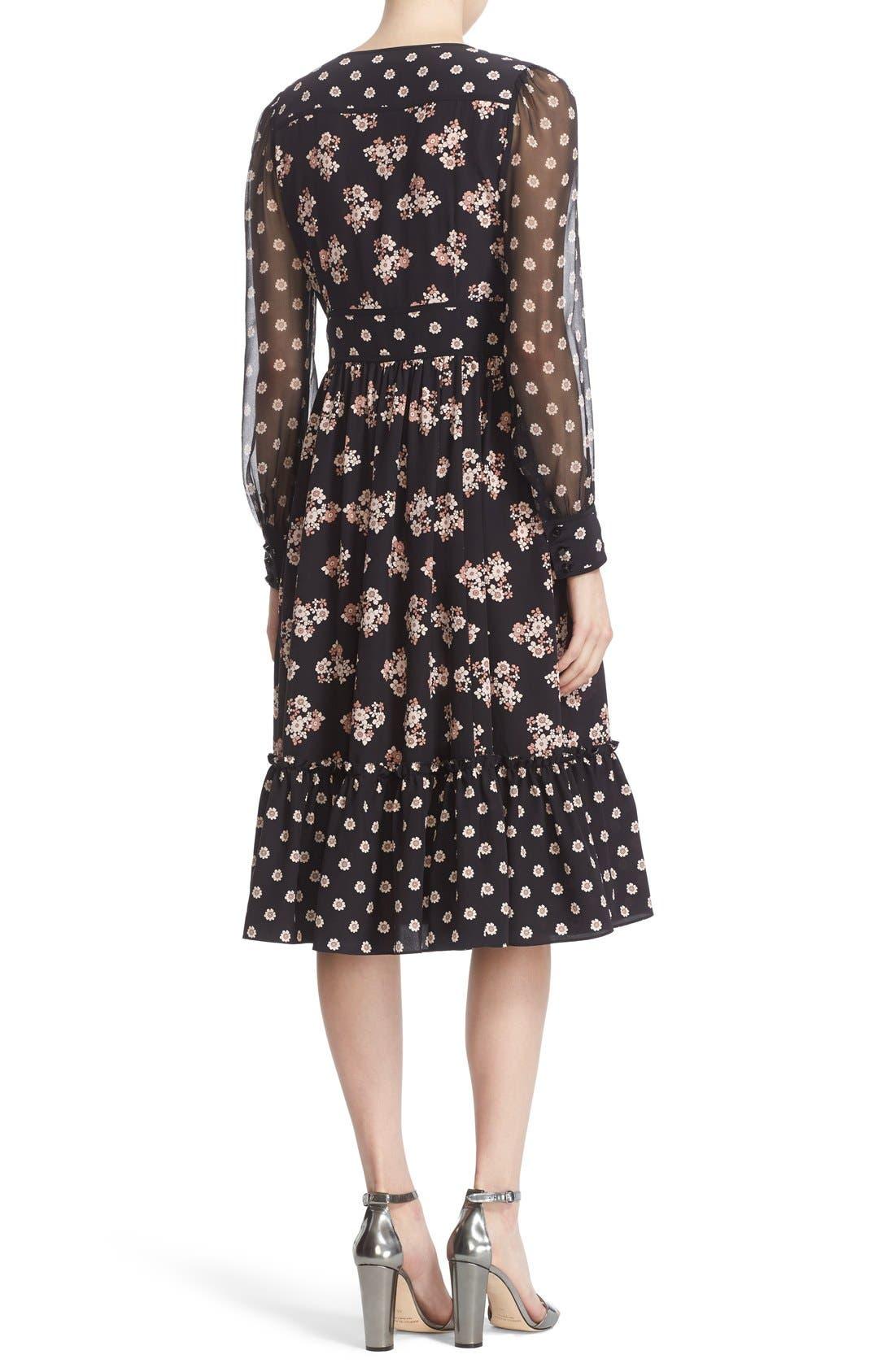 ditsy print silk midi dress,                             Alternate thumbnail 3, color,                             001