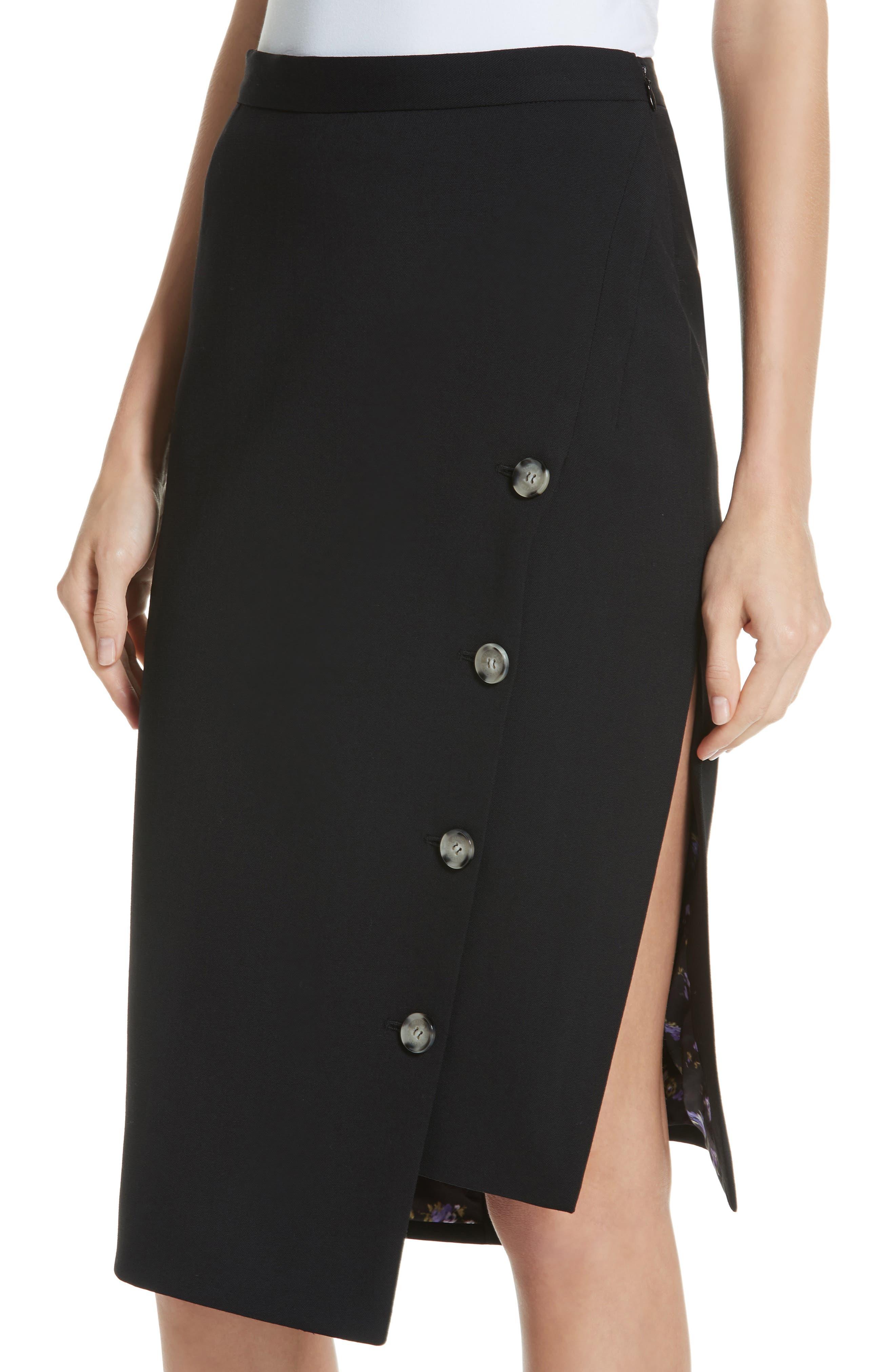 Button Detail Slit Stretch Wool Pencil Skirt,                             Alternate thumbnail 4, color,                             001 BLACK