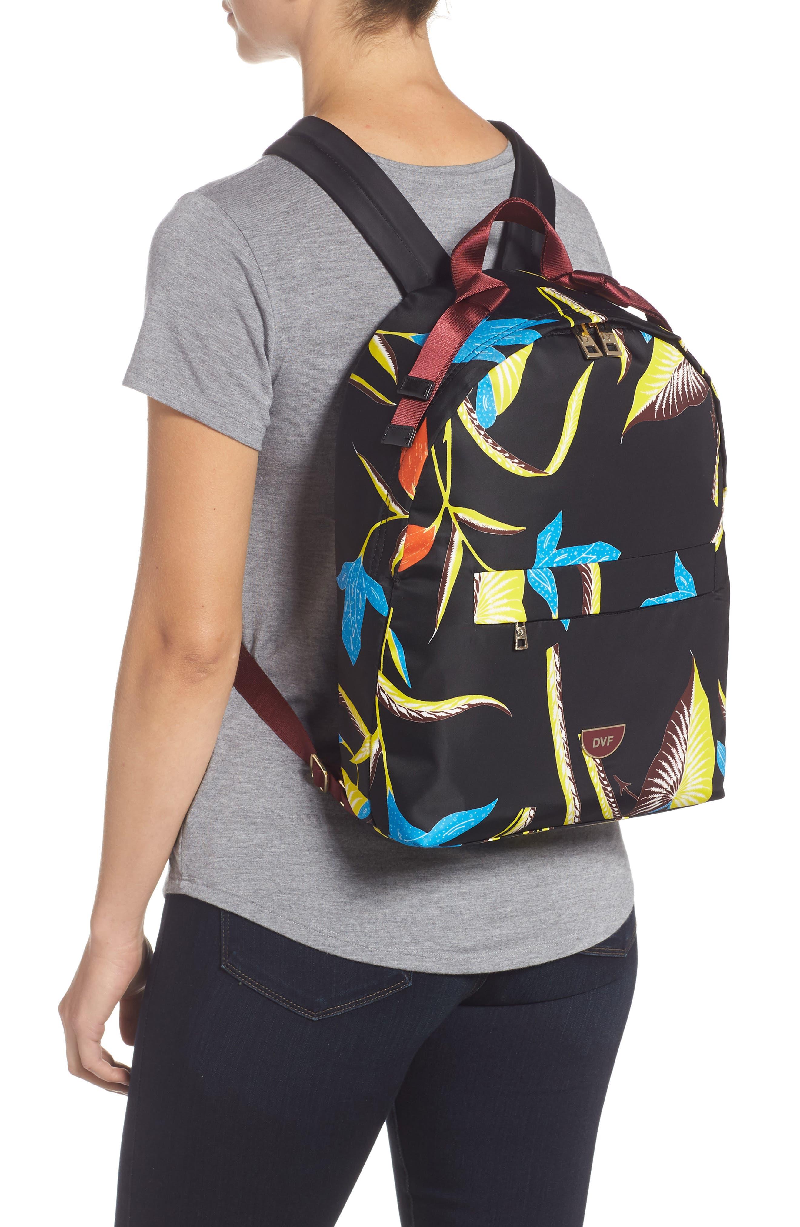 DVF Print Nylon Backpack,                             Alternate thumbnail 2, color,                             OSWALD BLACK