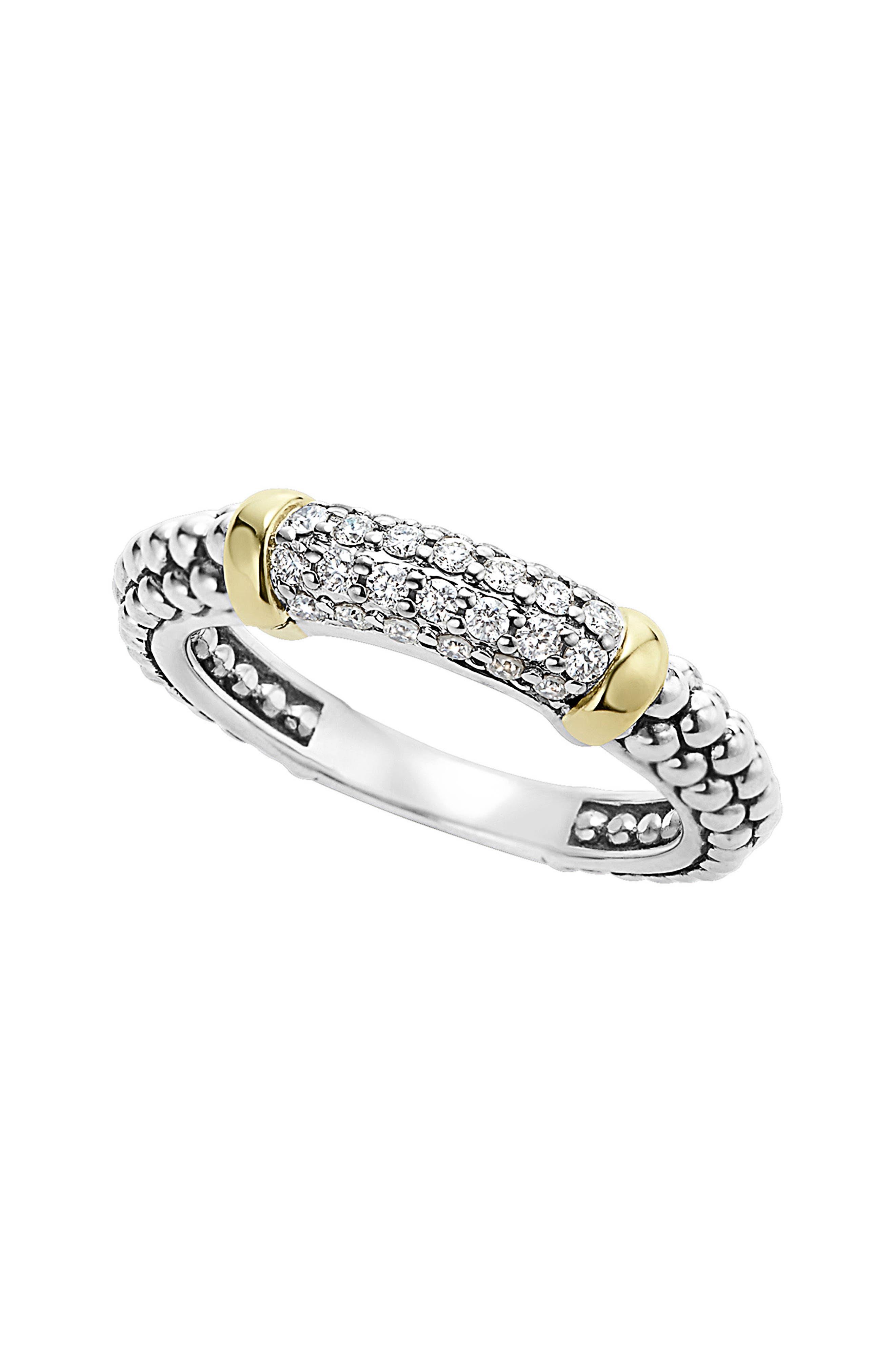 'Caviar' Diamond Band Ring,                             Main thumbnail 1, color,                             SILVER