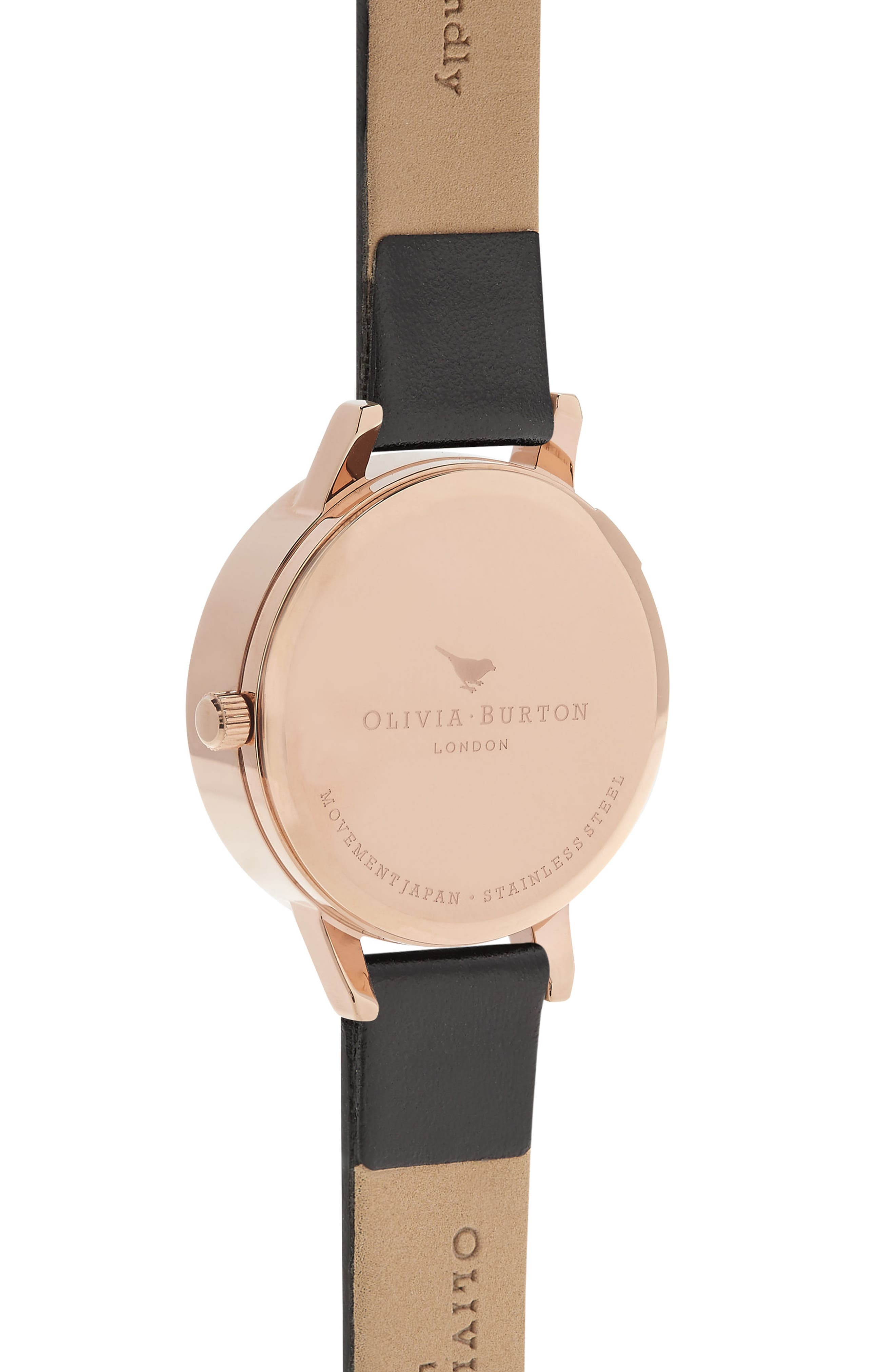 OLIVIA BURTON,                             Busy Bees Leather Strap Watch, 30mm,                             Alternate thumbnail 2, color,                             BLACK/ ROSE GOLD