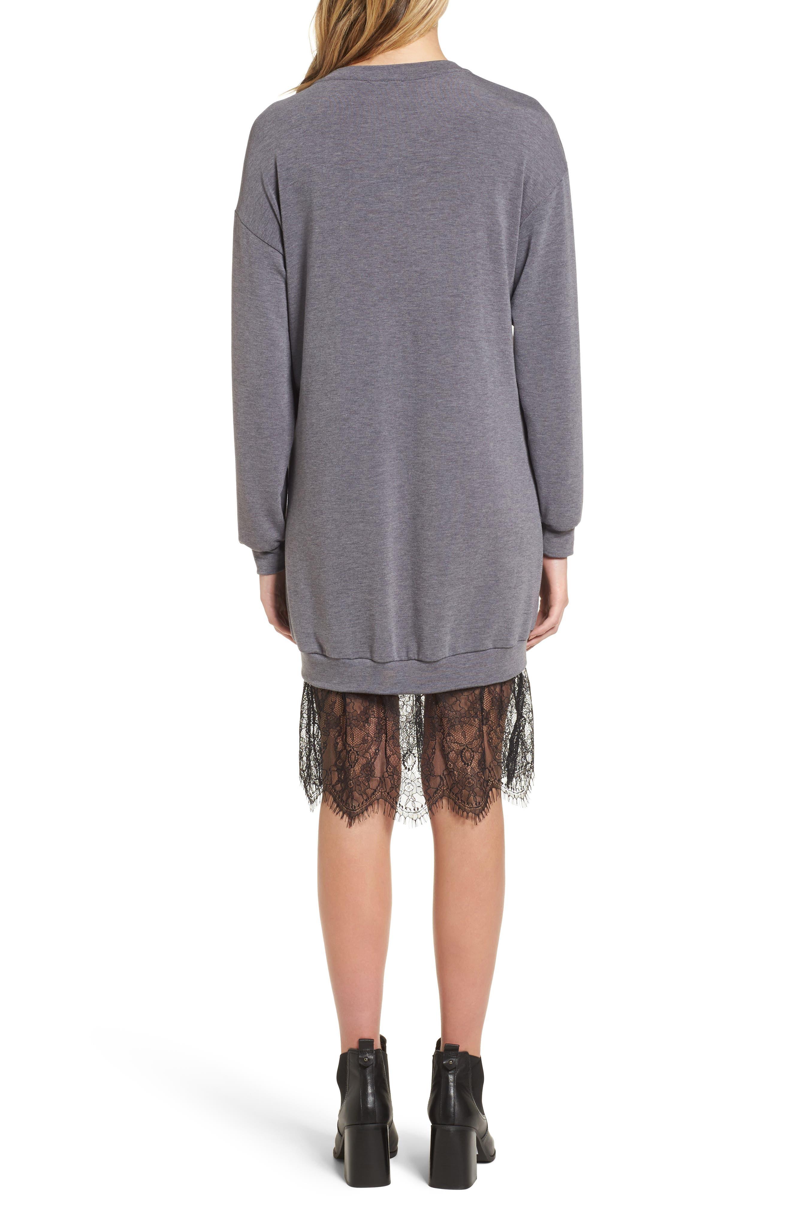 Lace Hem Sweatshirt Dress,                             Alternate thumbnail 2, color,                             002