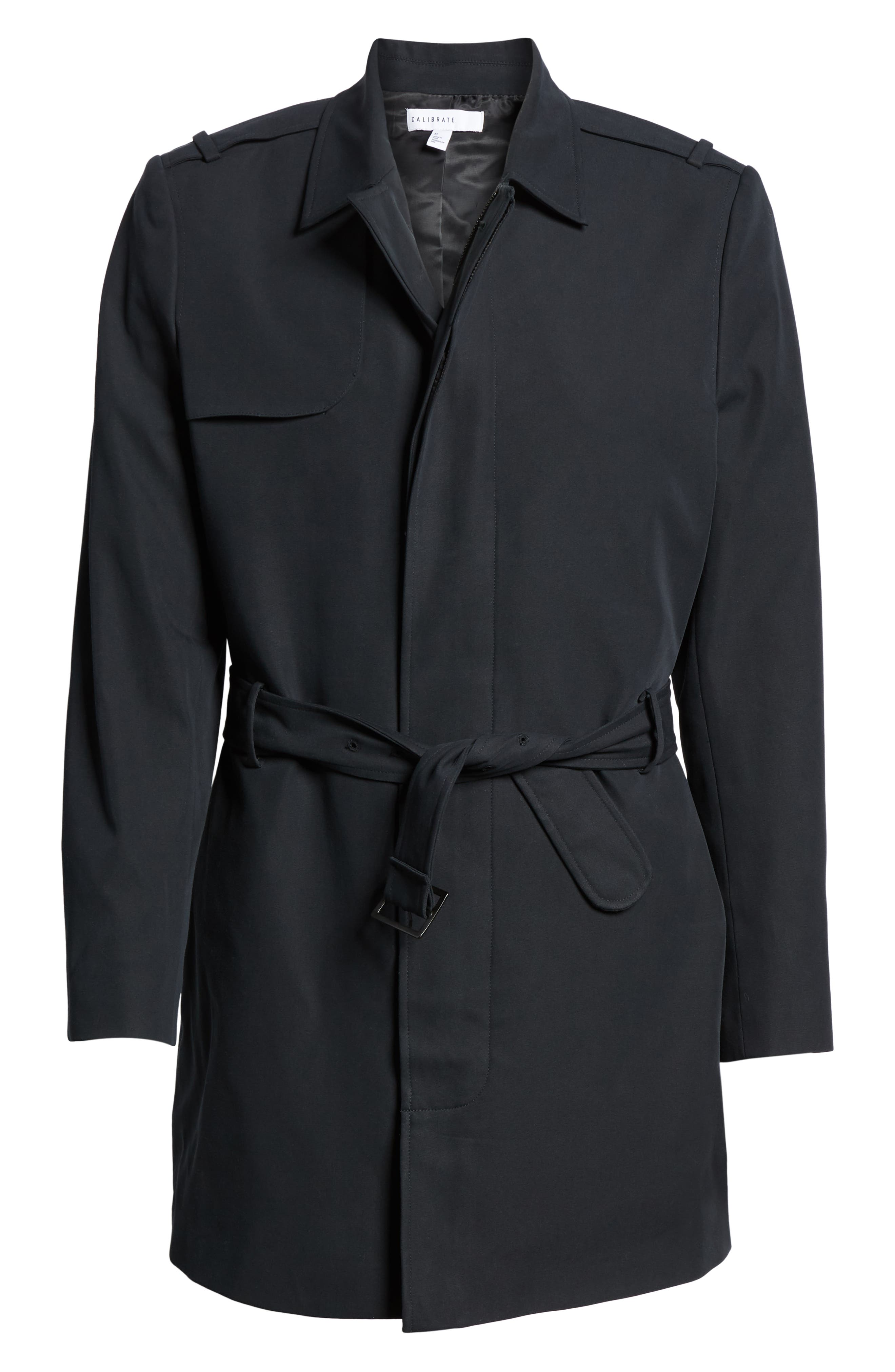 Clean Short Trench Coat,                             Alternate thumbnail 5, color,                             BLACK