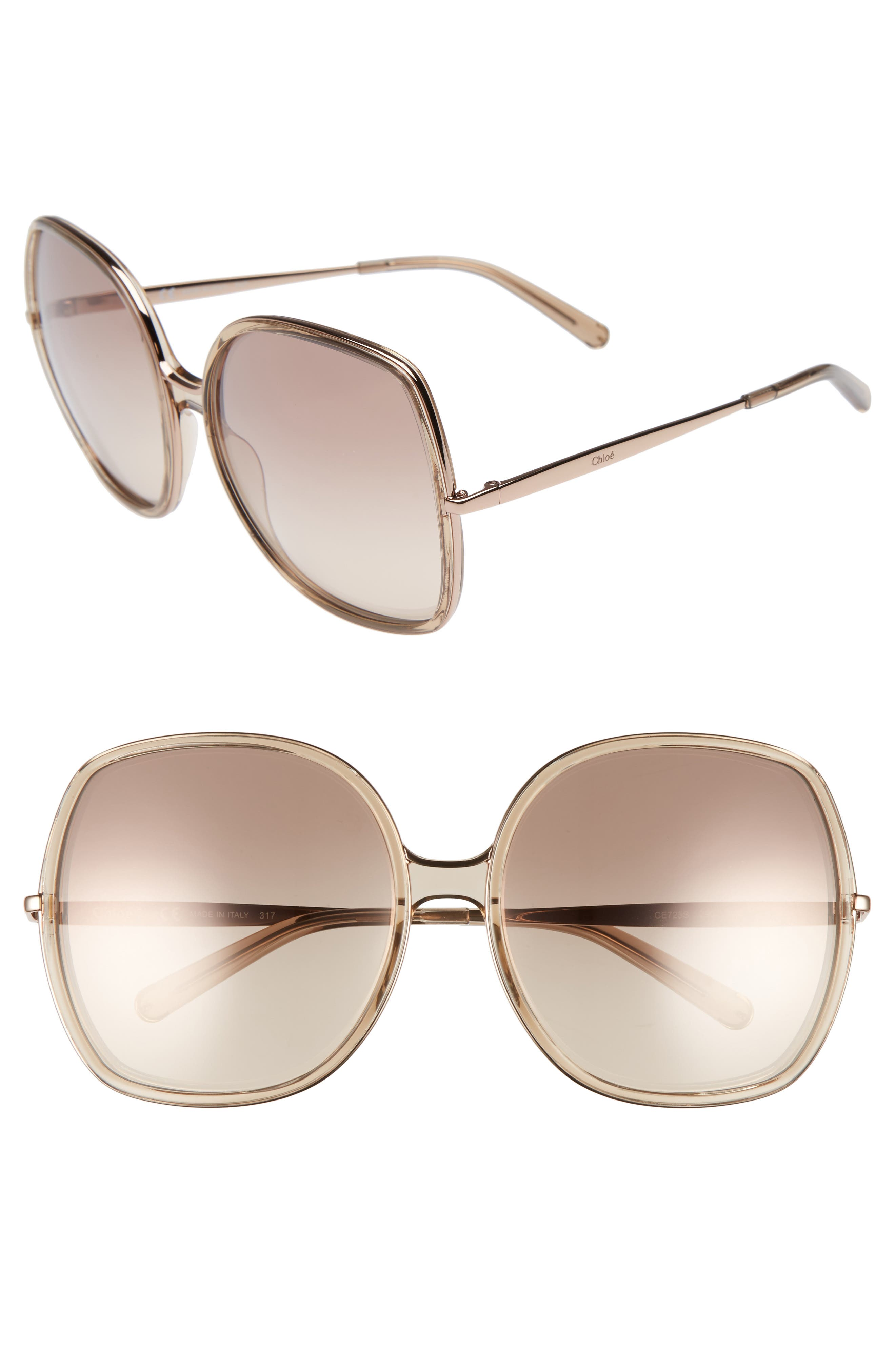 62mm Oversized Gradient Lens Square Sunglasses,                         Main,                         color, NUDE
