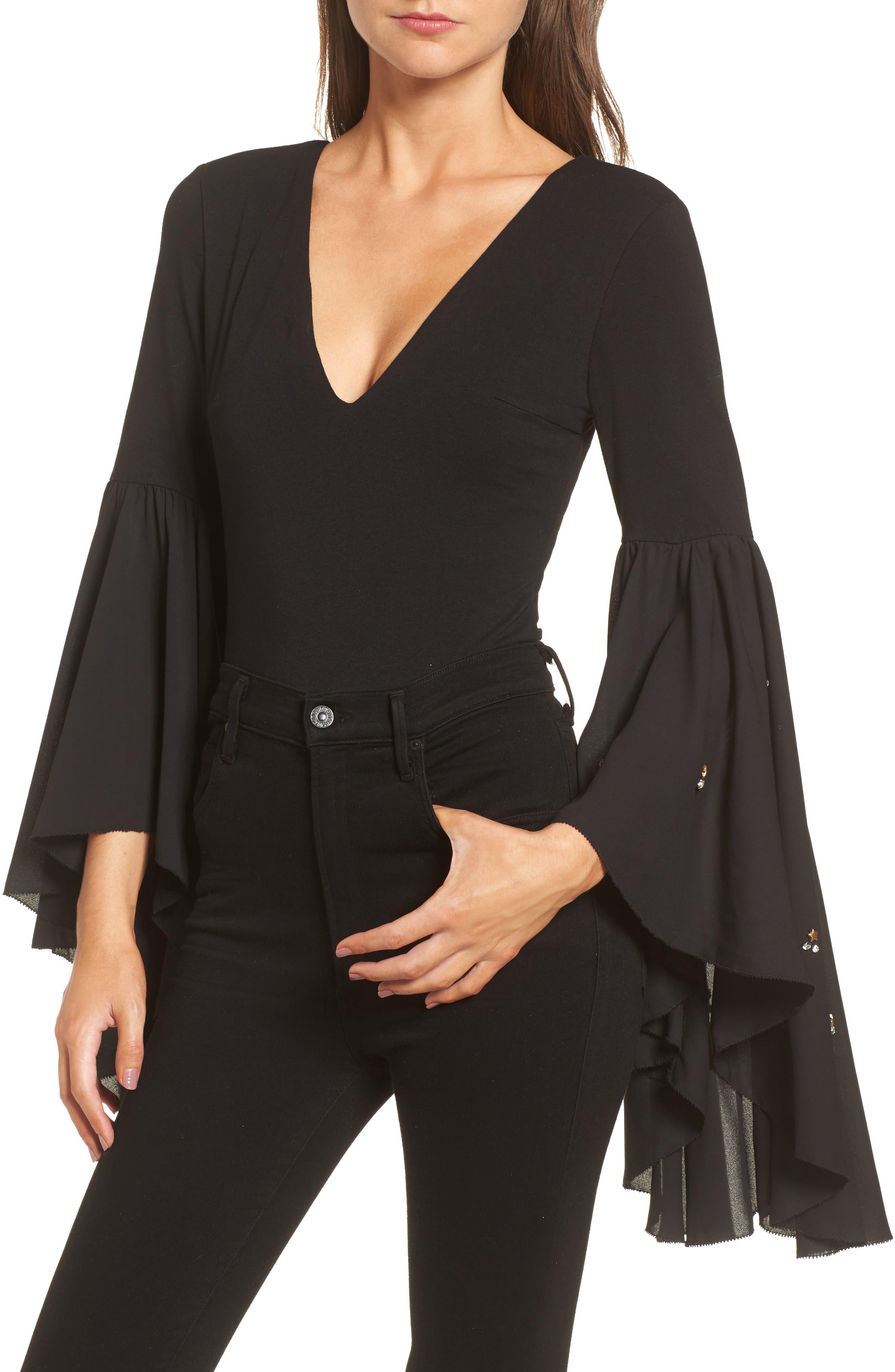 Embellished Flare Sleeve Bodysuit,                         Main,                         color,