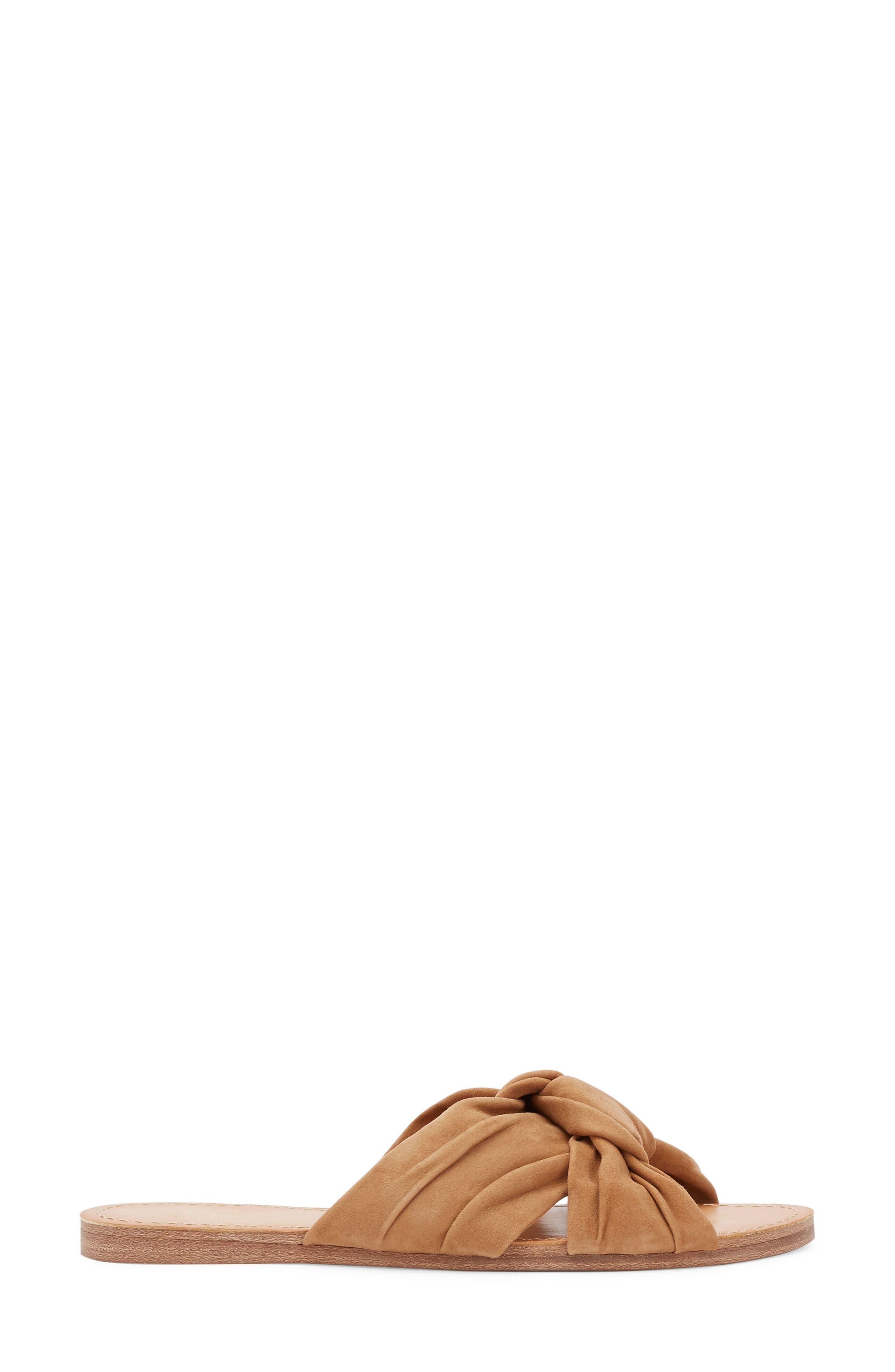 Sophie Knotted Bow Sandal,                             Alternate thumbnail 3, color,                             TAN SUEDE