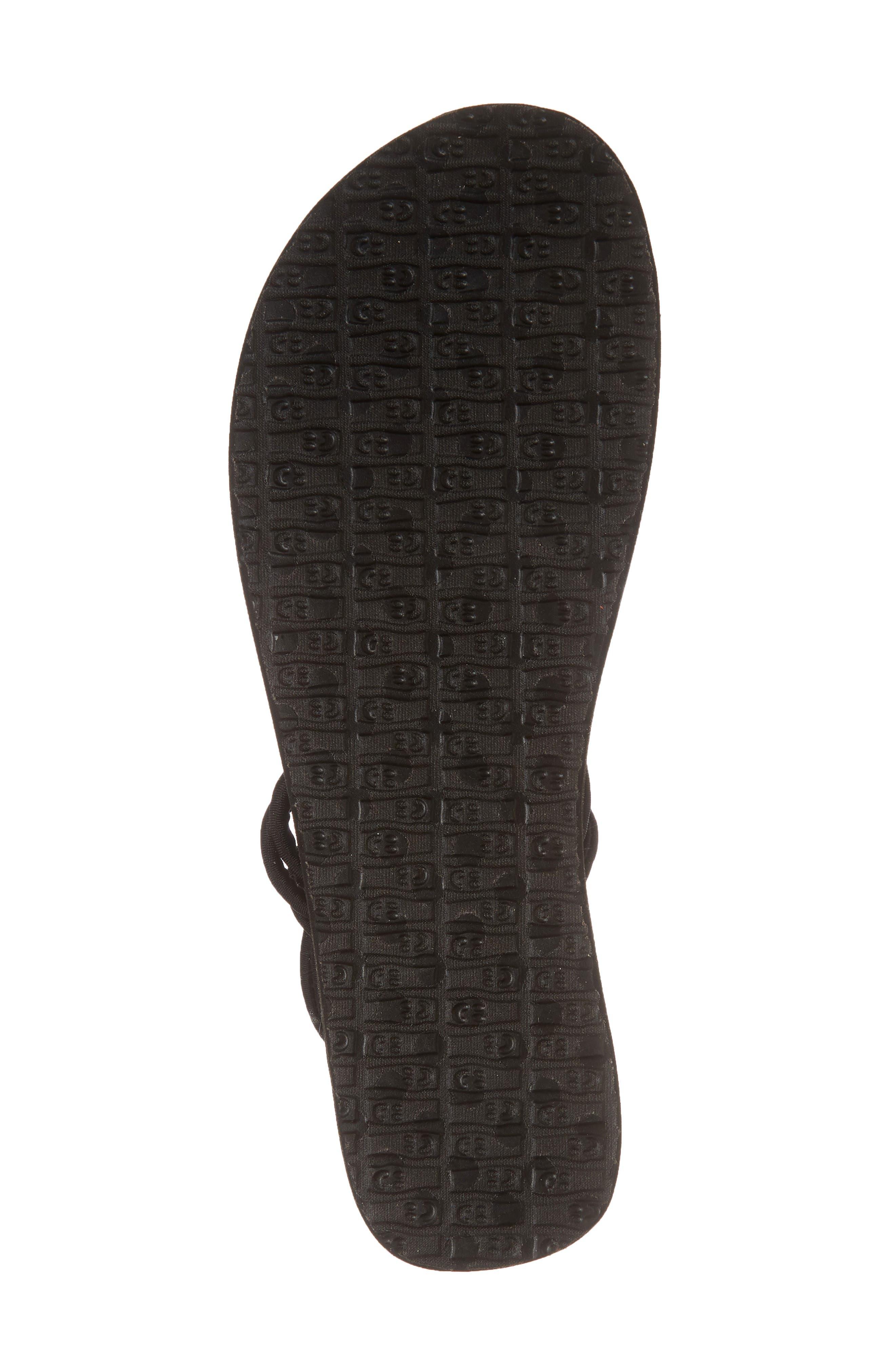 Yoga Sunshine Knotted Thong Sandal,                             Alternate thumbnail 6, color,                             BLACK