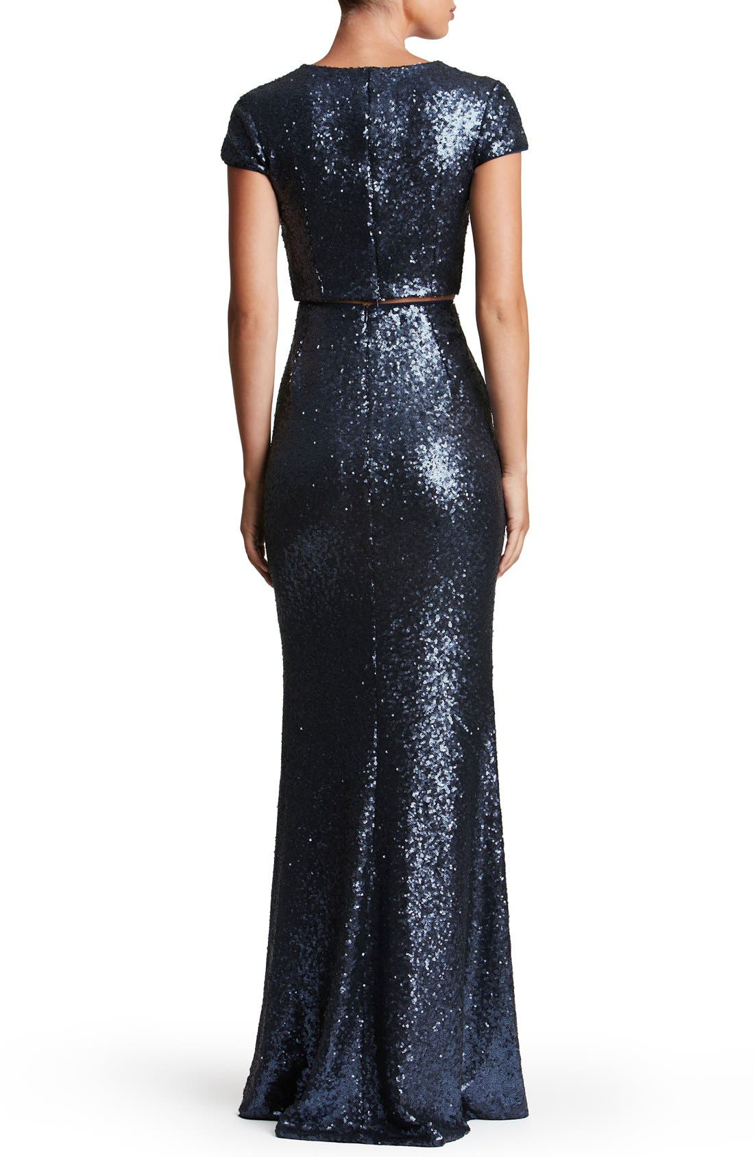 Cara Sequin Two-Piece Gown,                             Alternate thumbnail 14, color,