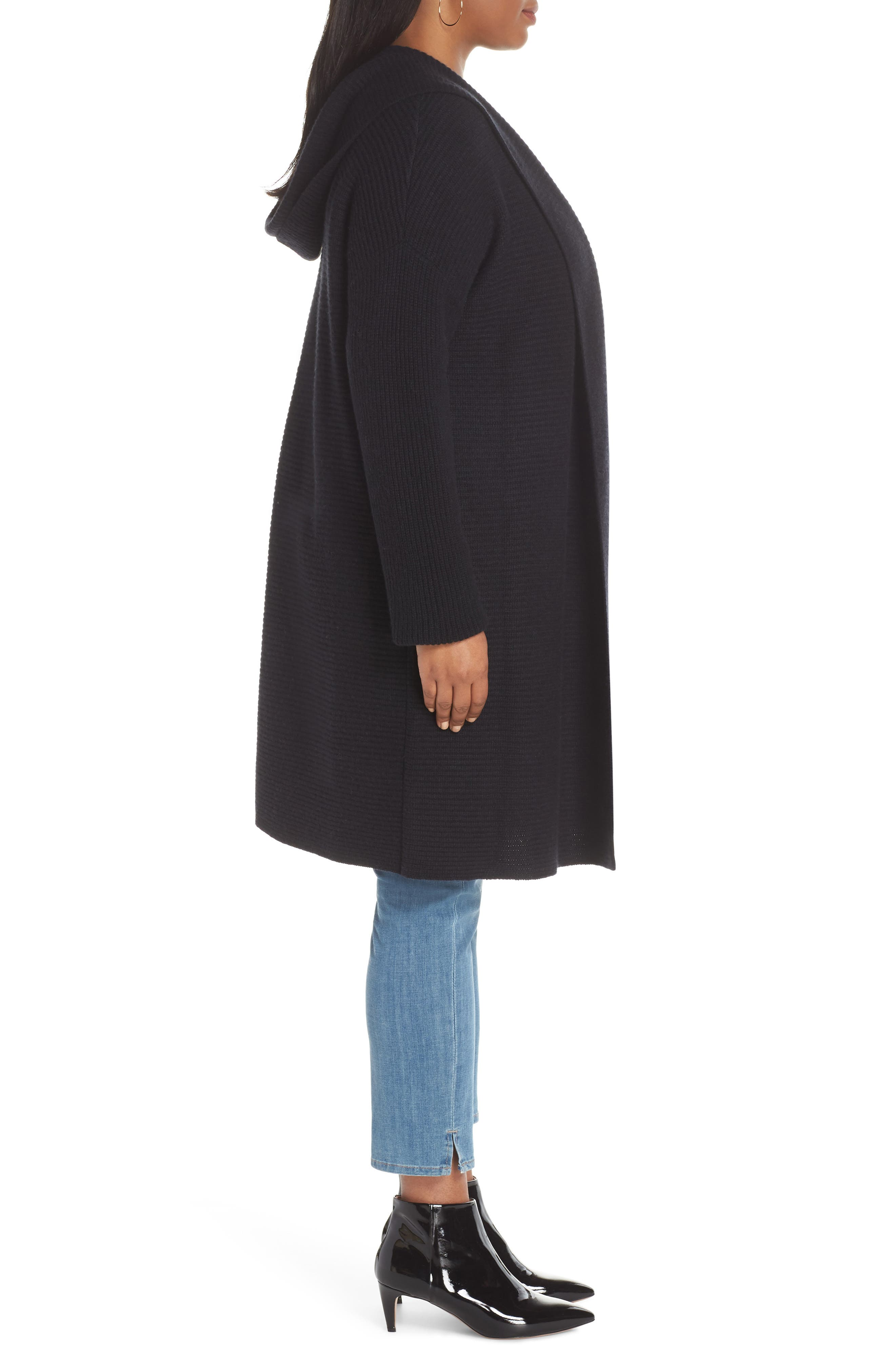 Hooded Wool & Cashmere Cardigan,                             Alternate thumbnail 3, color,                             BLACK