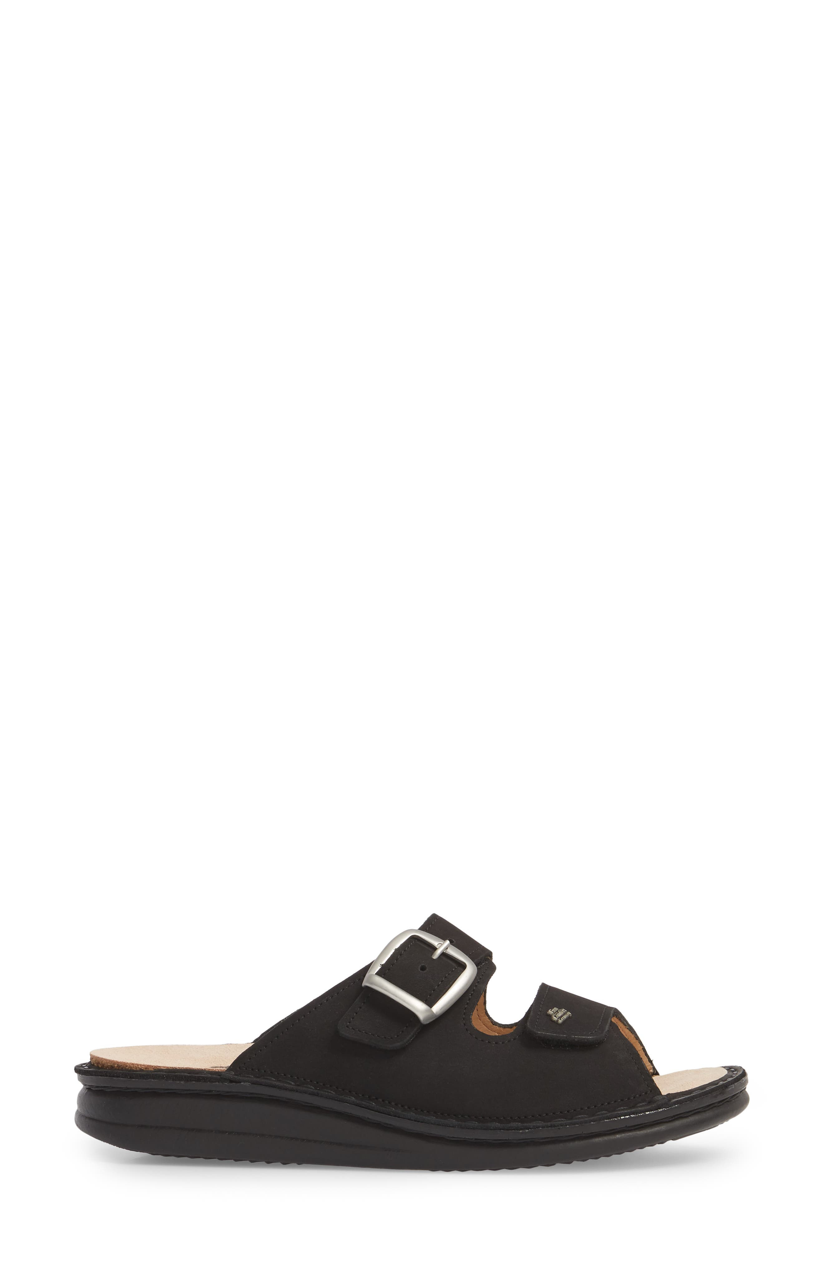 Harper Slide Sandal,                             Alternate thumbnail 3, color,                             BLACK LEATHER