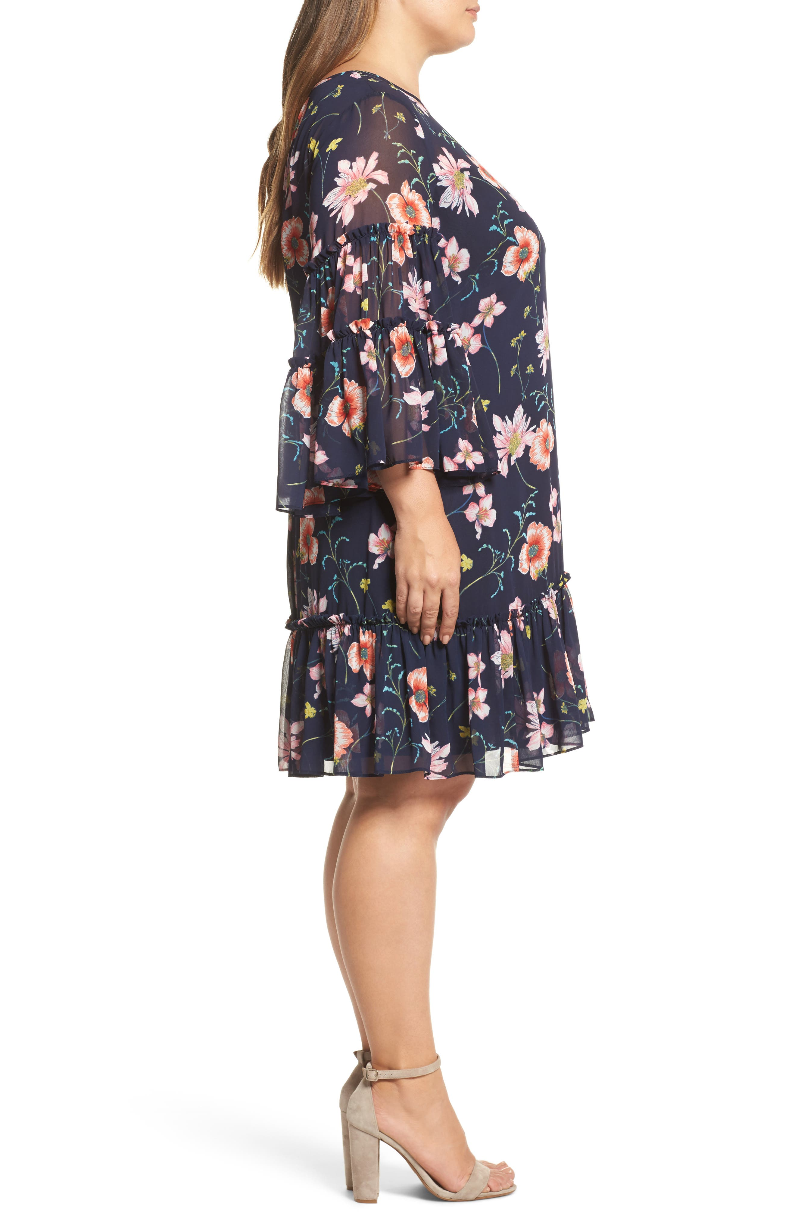 Floral Print Drop Waist Dress,                             Alternate thumbnail 3, color,                             410