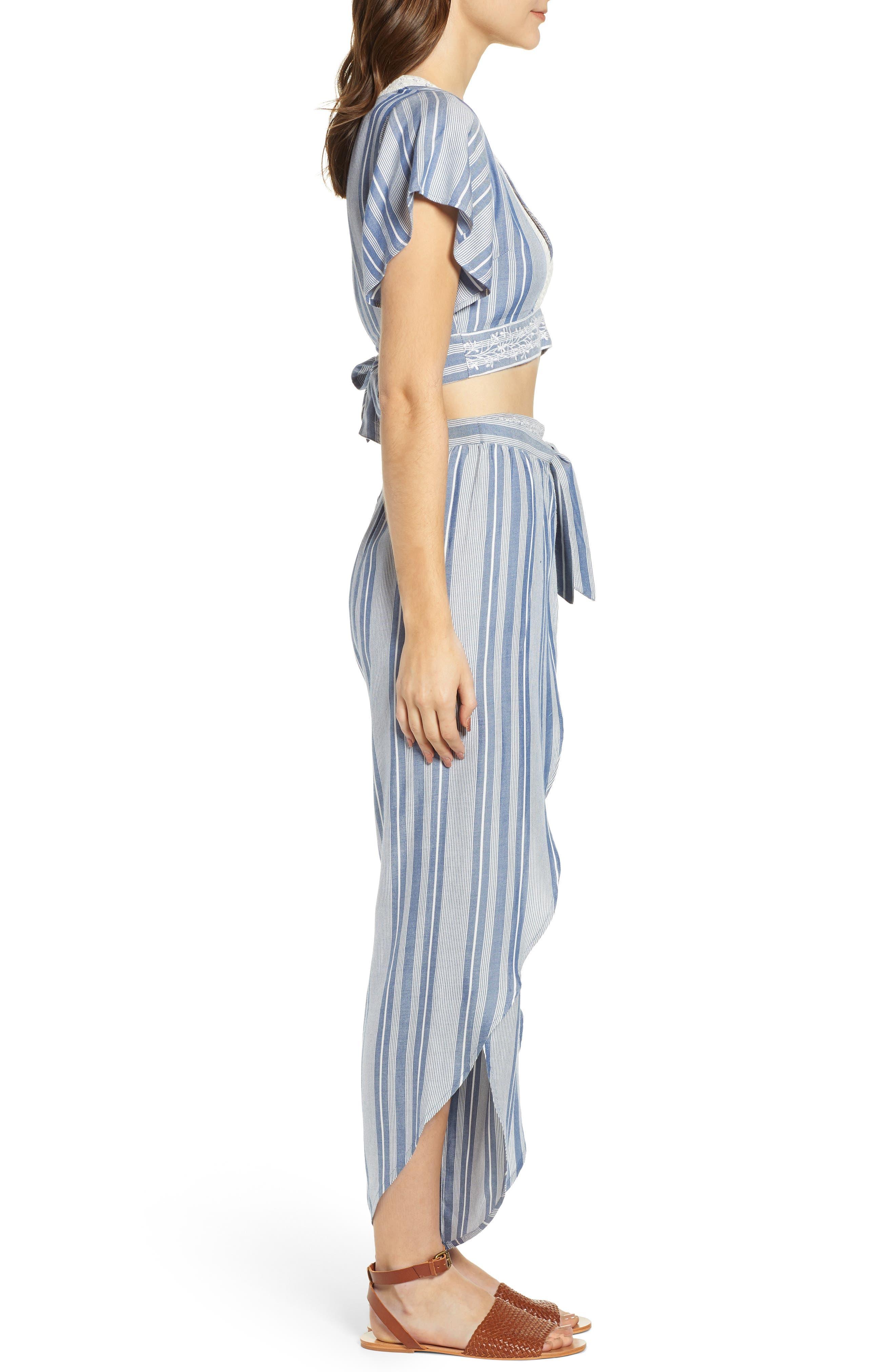 Jessa Stripe Tulip Hem Pants,                             Alternate thumbnail 10, color,                             MARSHMALLOW EMBROIDERED FLORAL