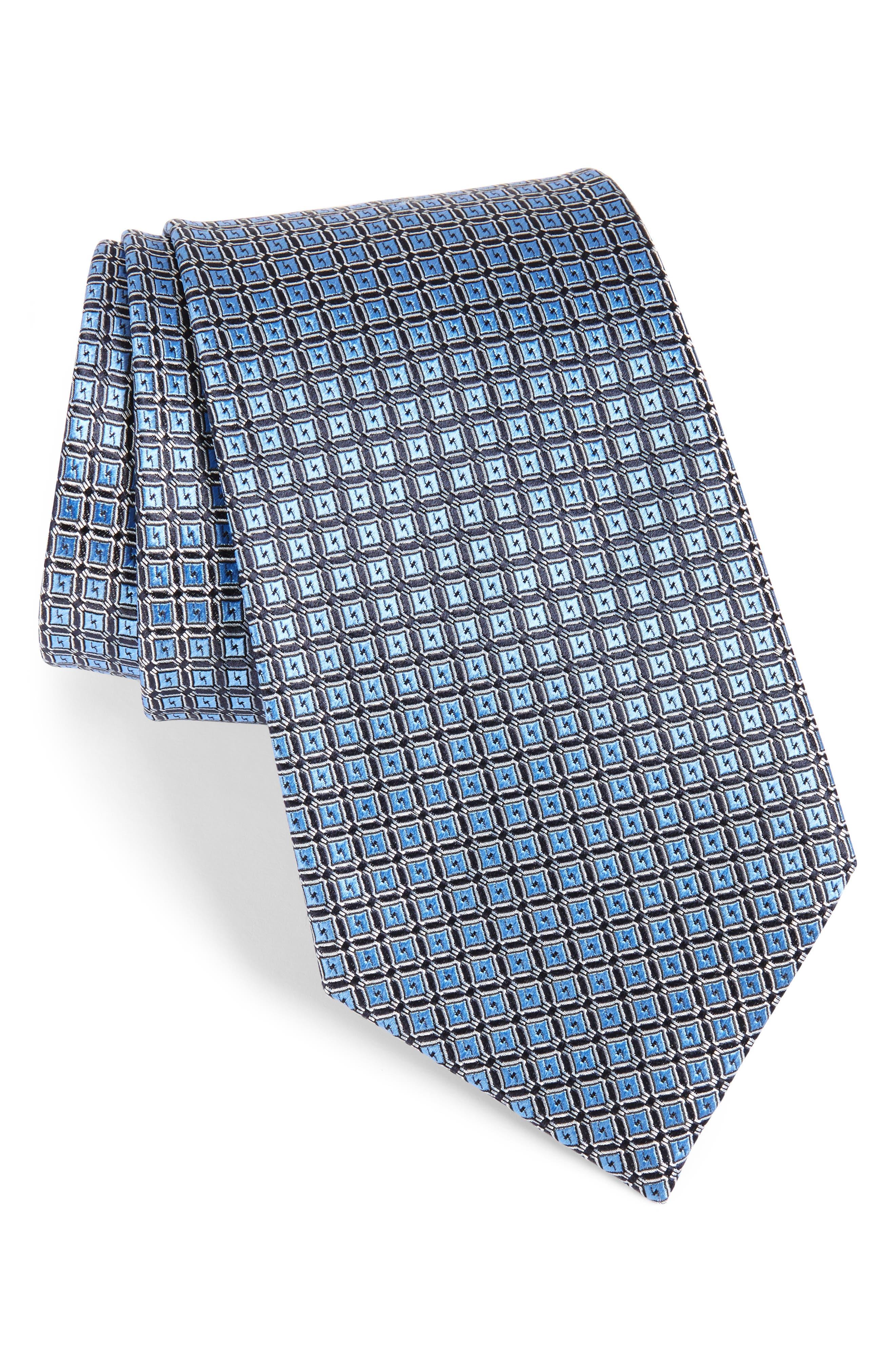 Geometric Silk Tie,                             Main thumbnail 1, color,                             432