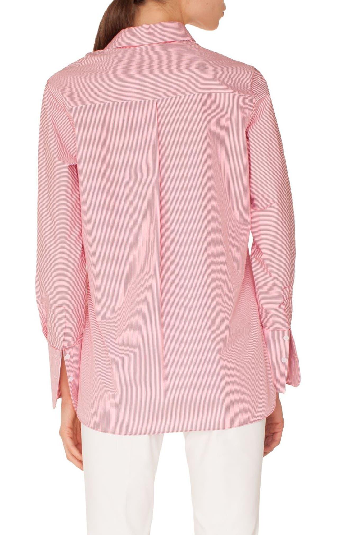 Stripe Cotton Shirt,                             Alternate thumbnail 2, color,                             LIPSTICK-CREAM