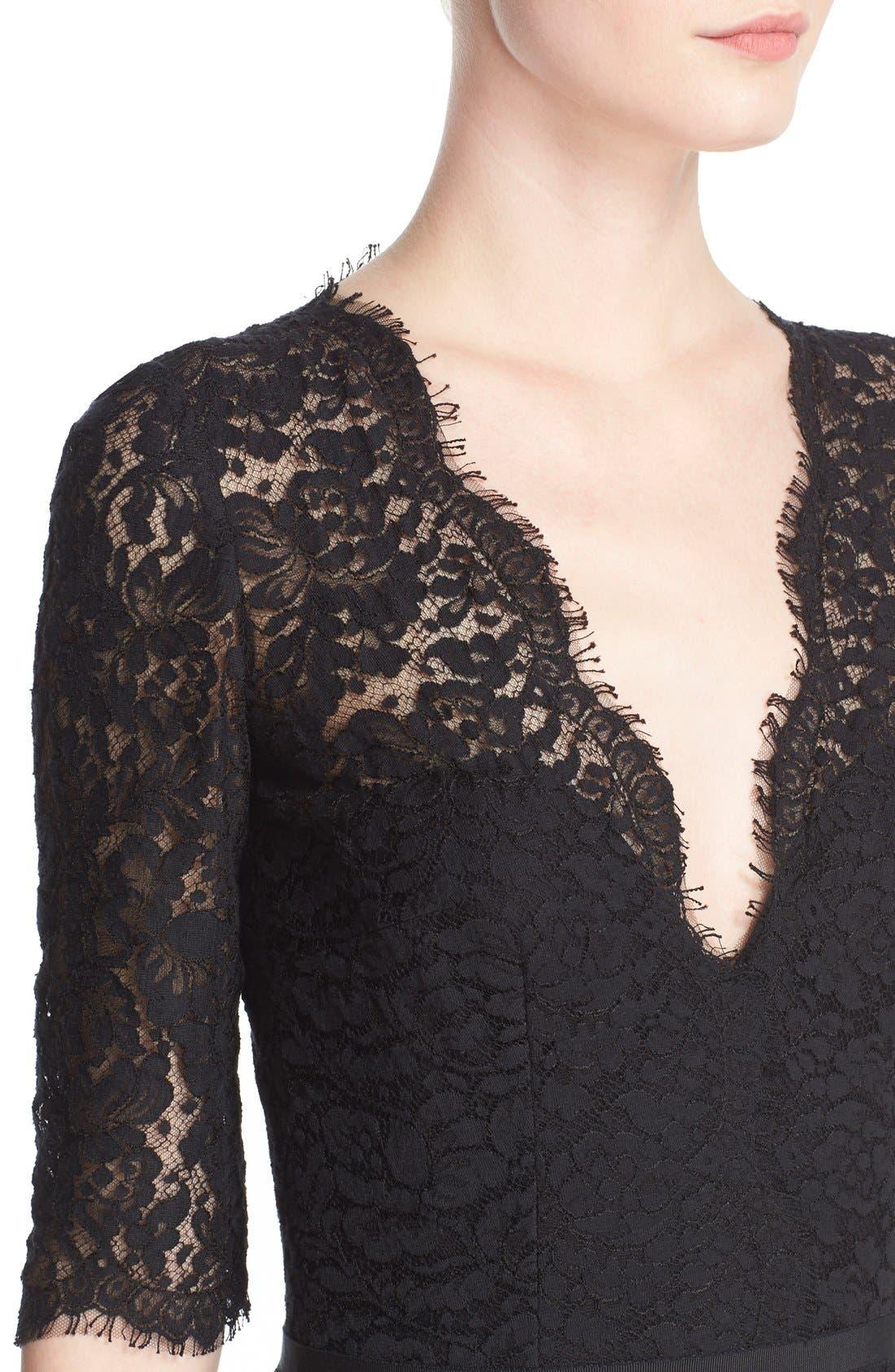 Lace A-Line Cocktail Dress,                             Alternate thumbnail 5, color,                             001