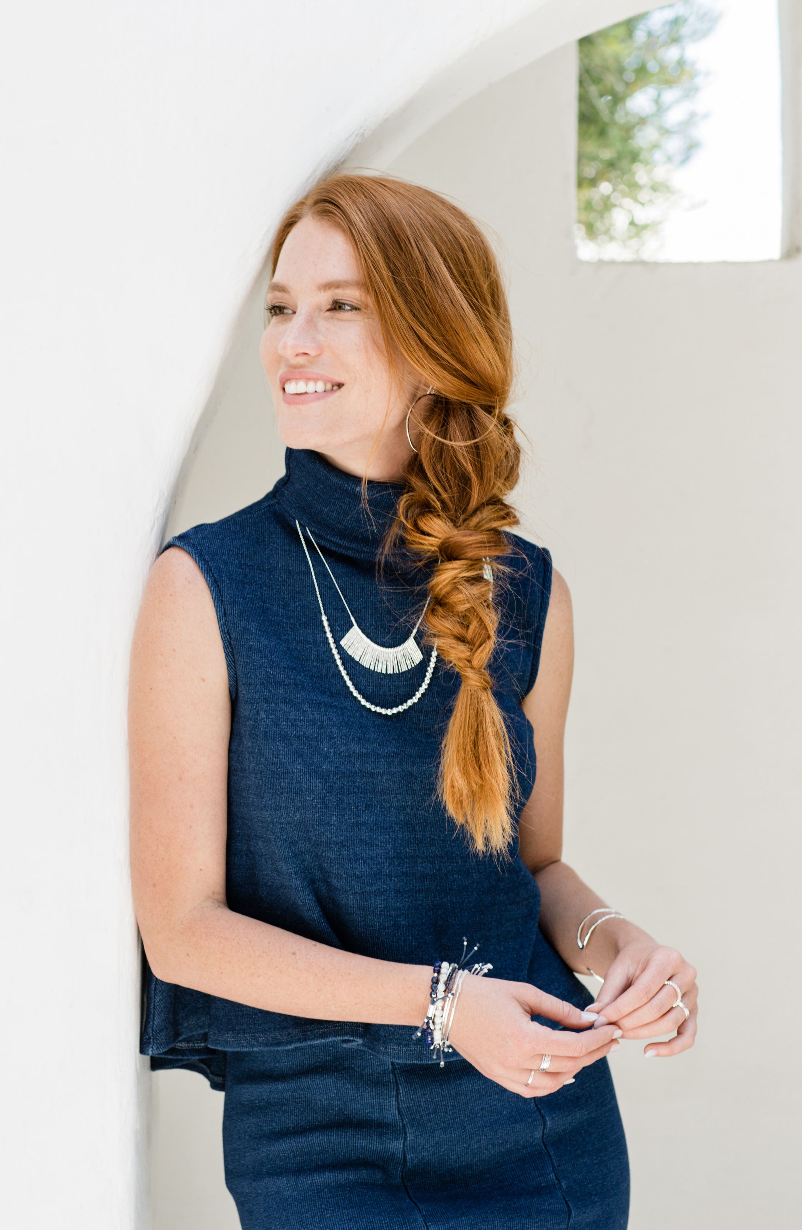 'Kylie' Fan Necklace,                         Main,                         color, SILVER
