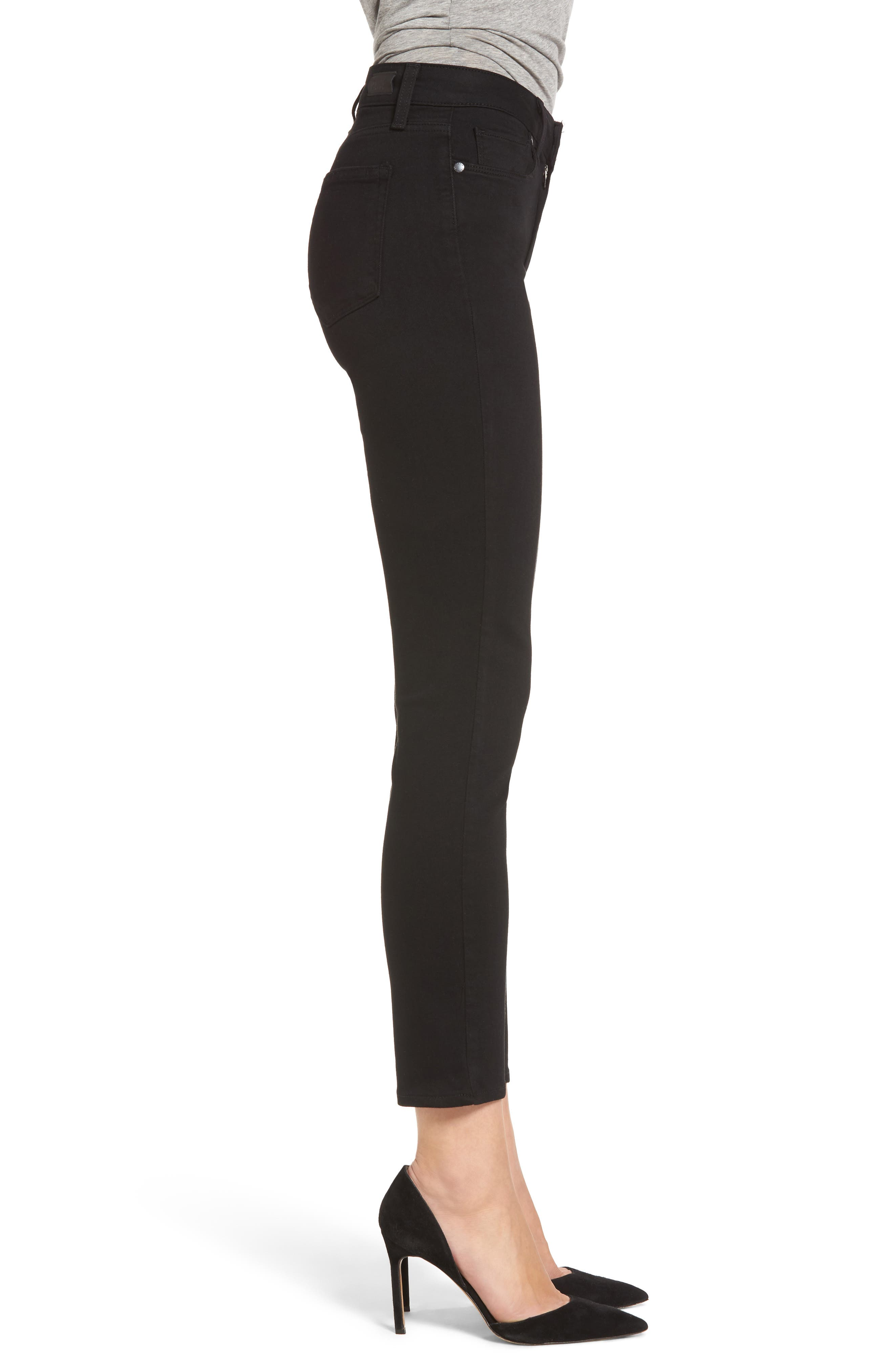 Hoxton Transcend High Waist Crop Skinny Jeans,                             Alternate thumbnail 3, color,                             BLACK SHADOW