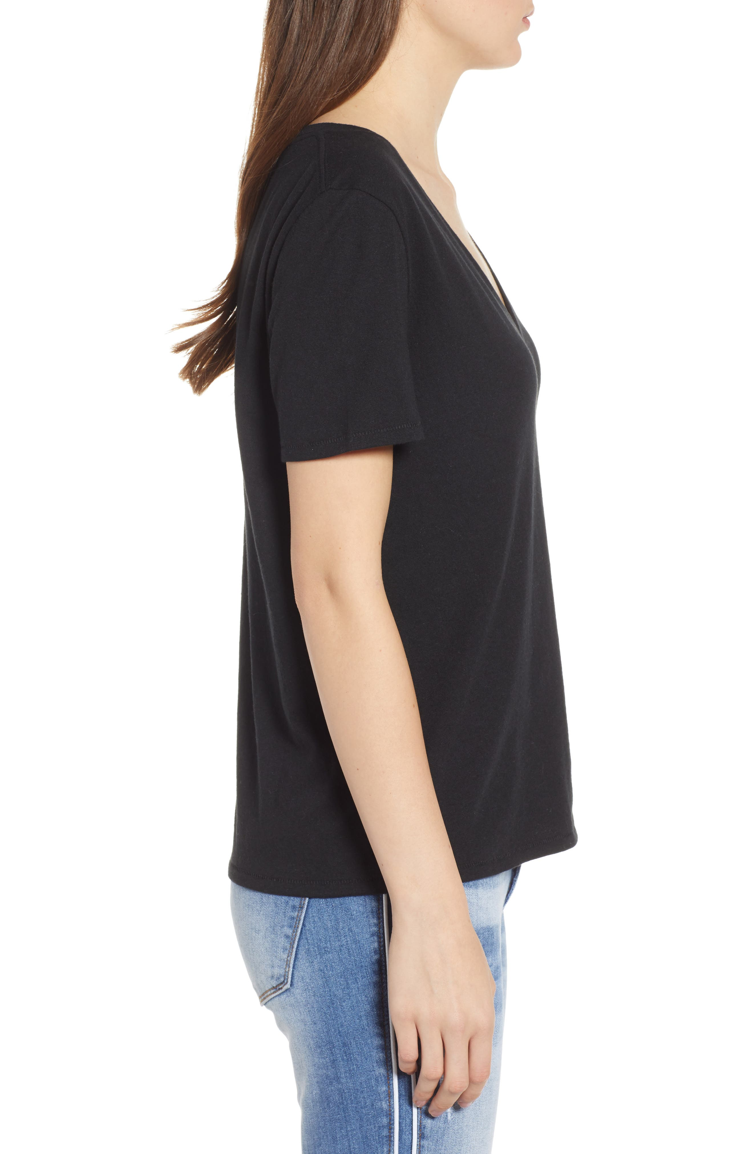BP.,                             V-Neck Tee,                             Alternate thumbnail 3, color,                             BLACK