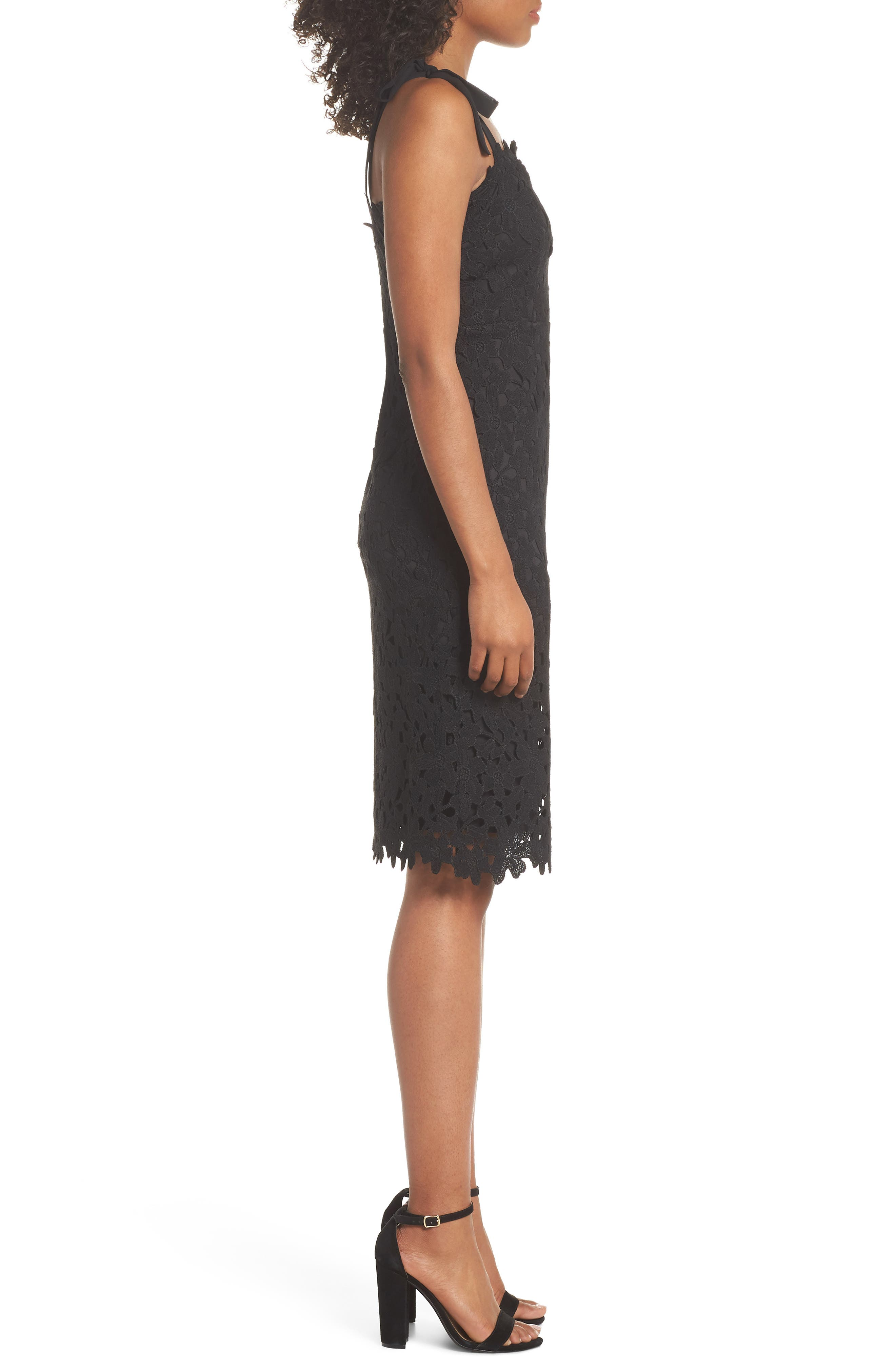 Amy Lace Sheath Dress,                             Alternate thumbnail 3, color,                             001