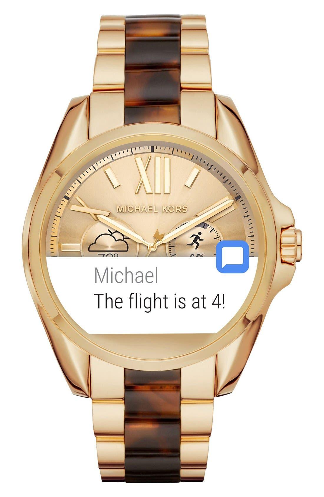 MICHAEL Michael Kors Bradshaw Access Bracelet Smart Watch, 45mm,                             Alternate thumbnail 42, color,