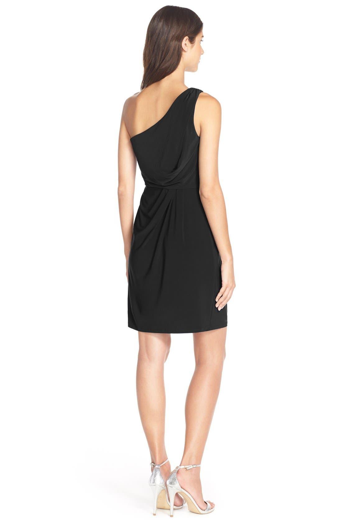 One-Shoulder Jersey Blouson Dress,                             Alternate thumbnail 2, color,                             001