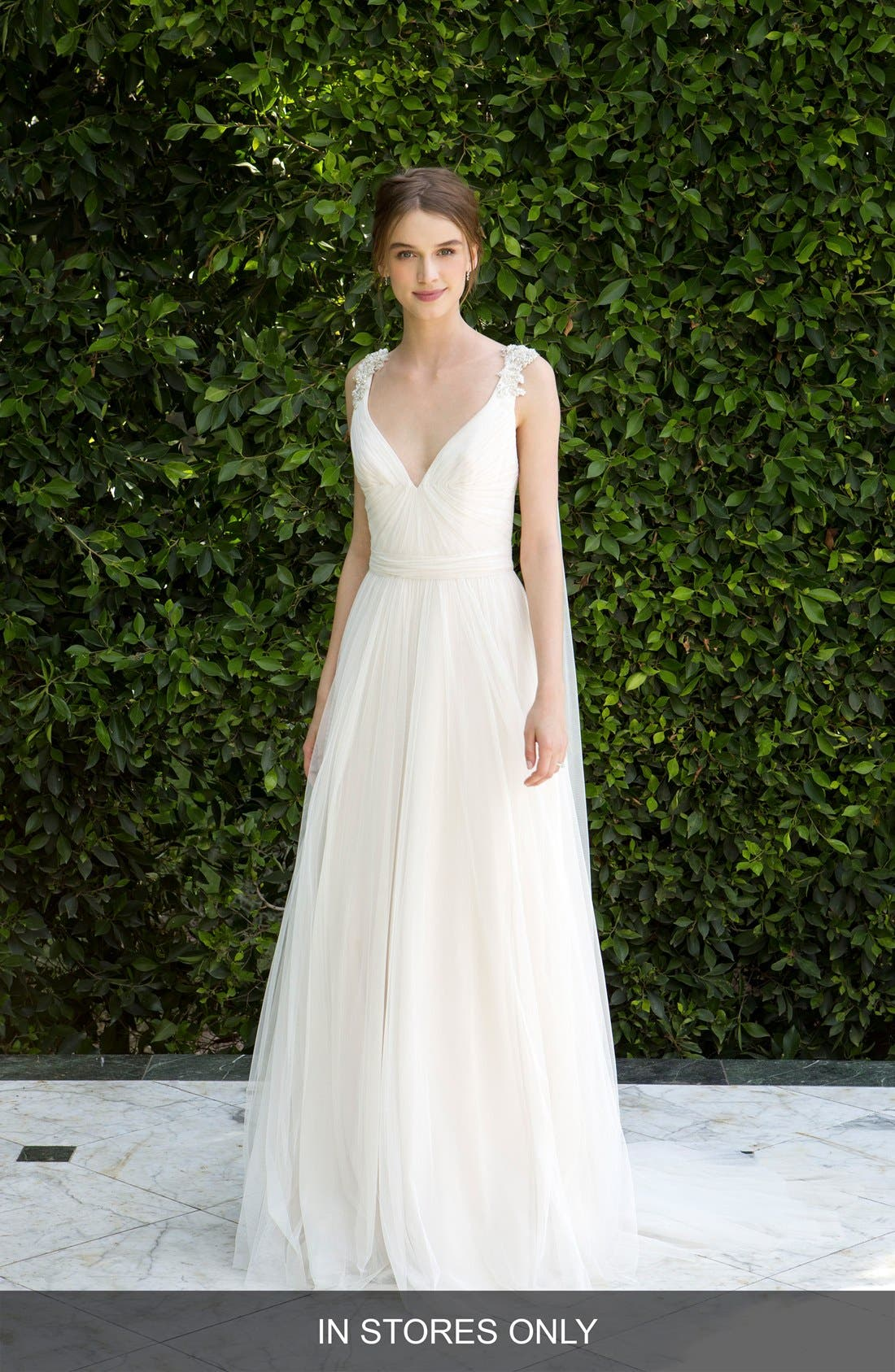 Beaded Soft Tulle Dress with Tails,                             Main thumbnail 1, color,                             904
