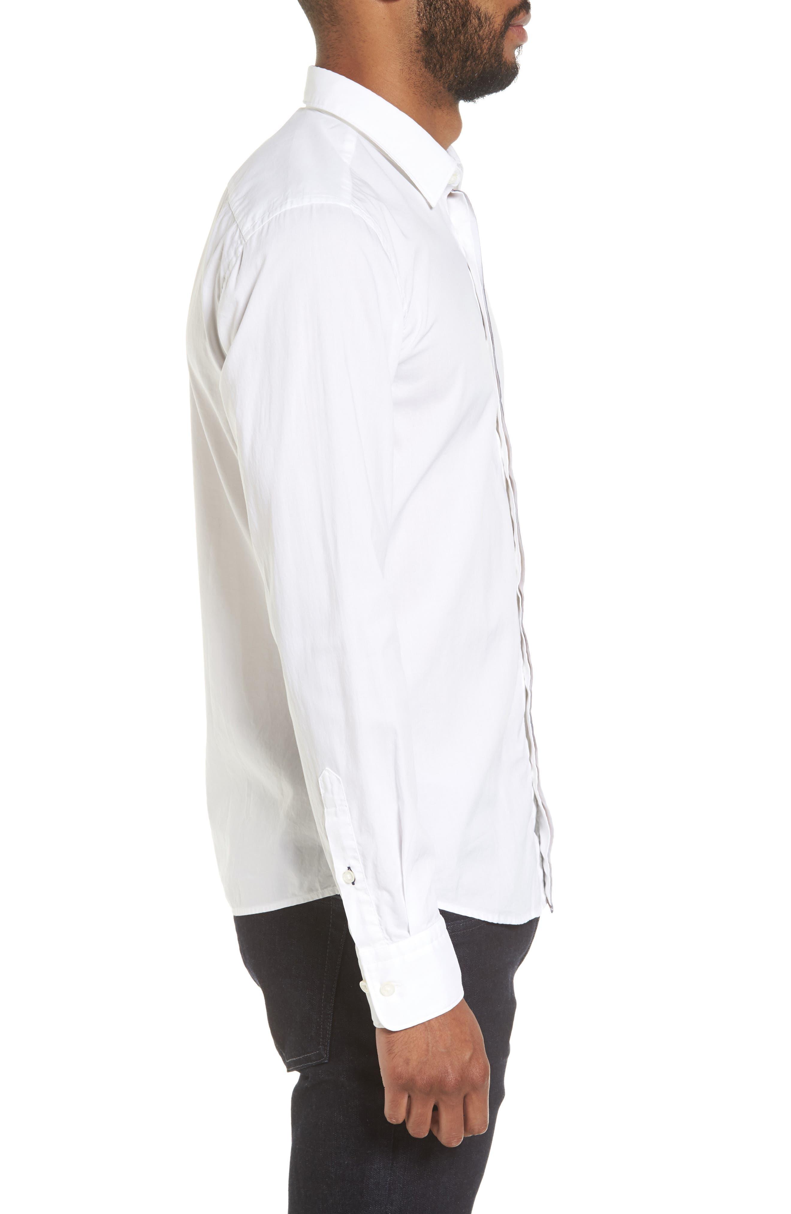 Reid Slim Fit Contrast Placket Sport Shirt,                             Alternate thumbnail 3, color,                             101