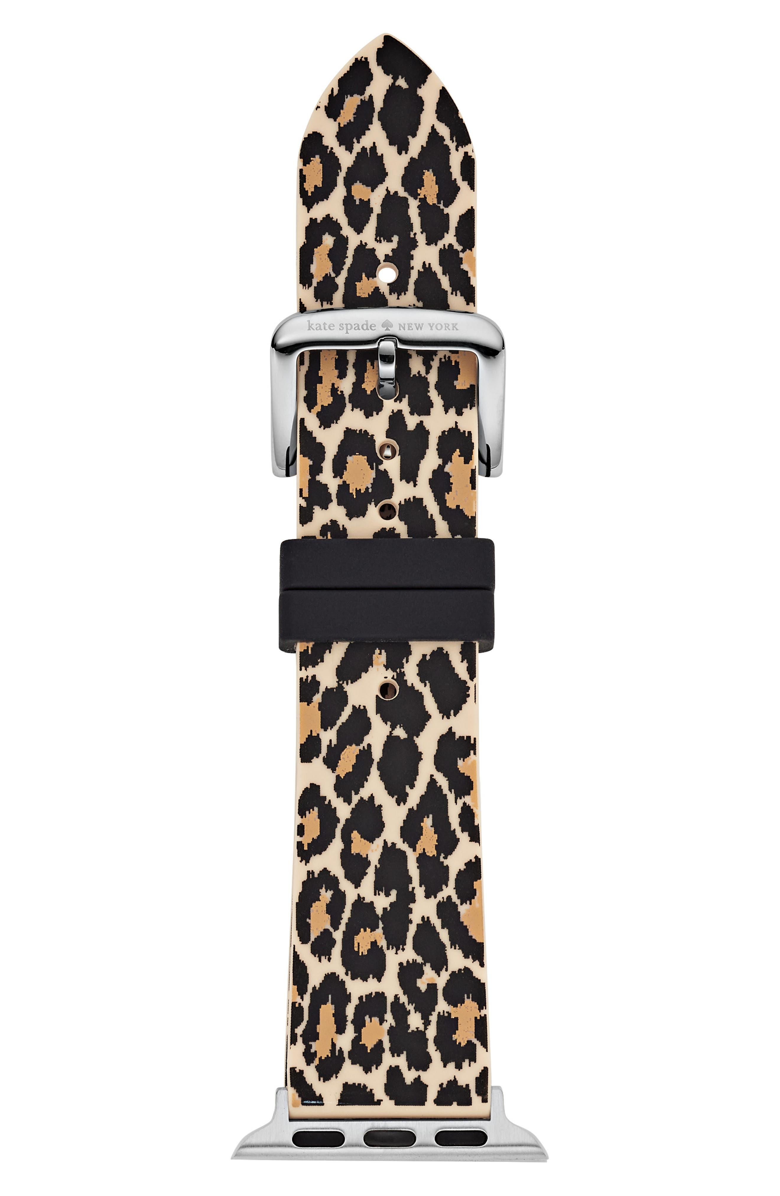 Apple Watch strap, 38mm,                             Main thumbnail 1, color,                             BLACK/ LEOPARD