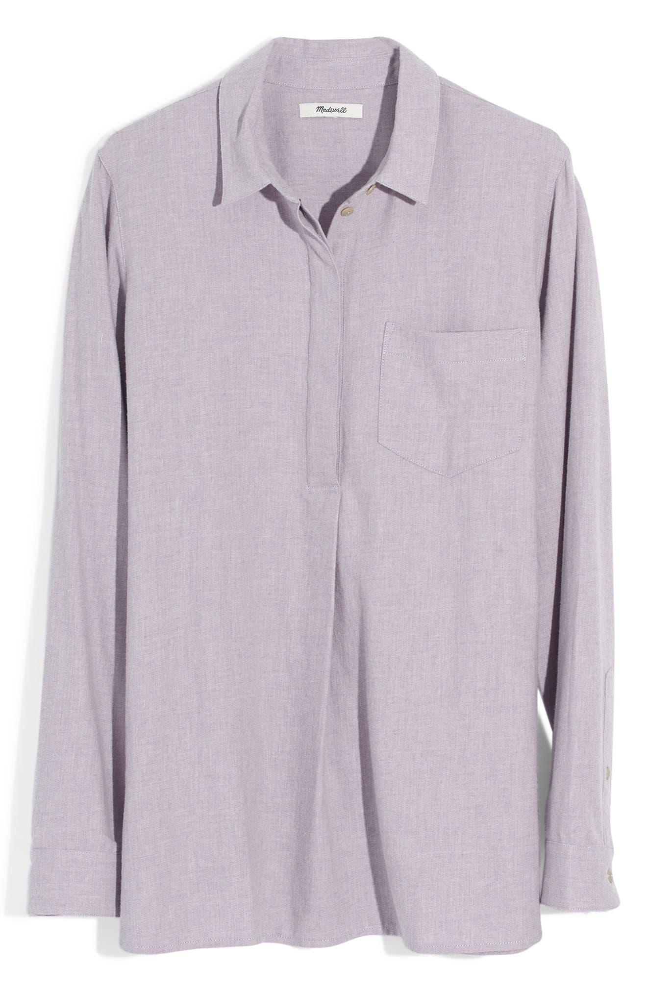 MADEWELL,                             Ex-Boyfriend Button Back Flannel Shirt,                             Alternate thumbnail 5, color,                             HEATHER THISTLE